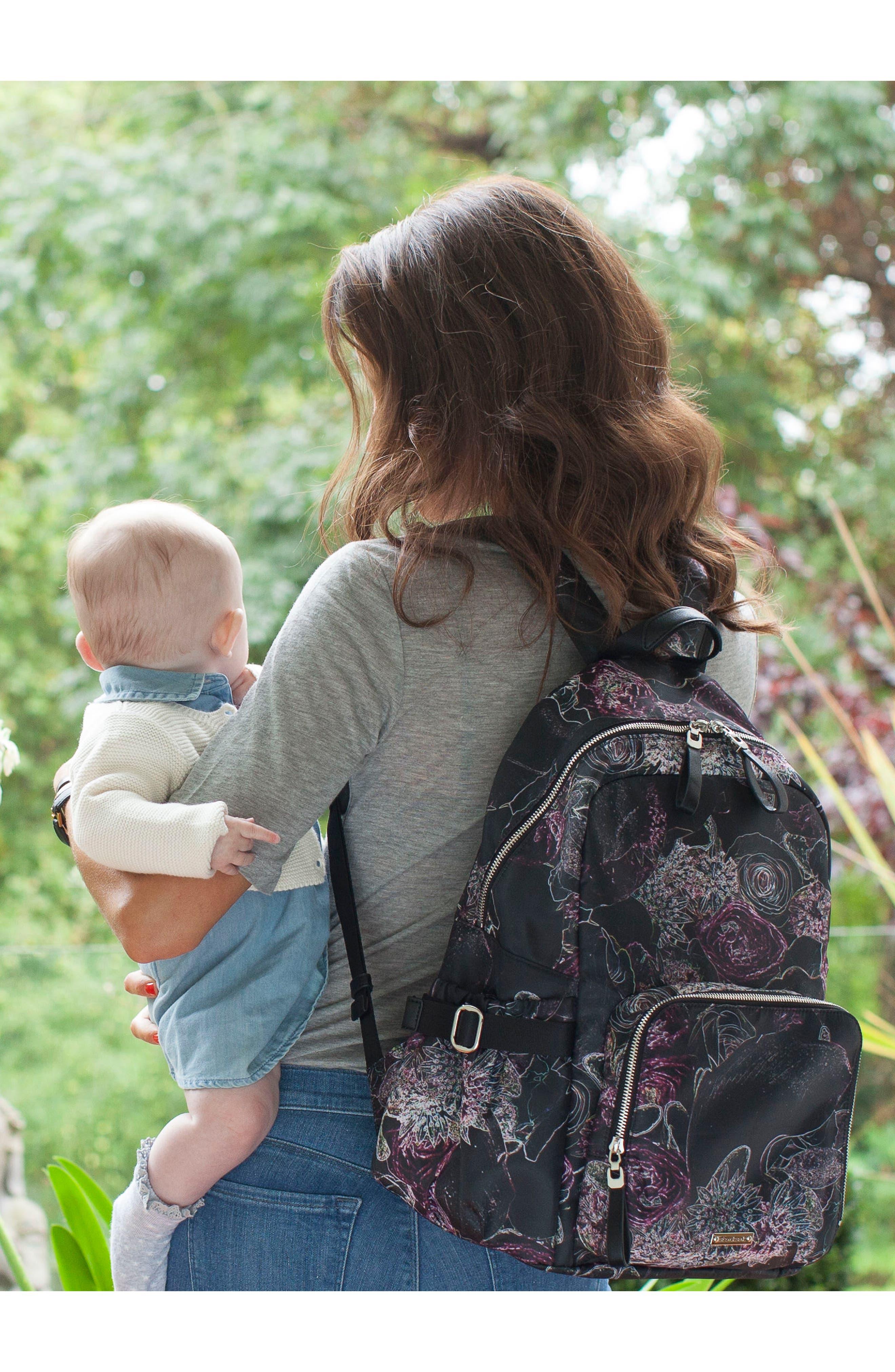 Hero Water Resistant Nylon Backpack Diaper Bag,                             Alternate thumbnail 10, color,                             Neon Floral