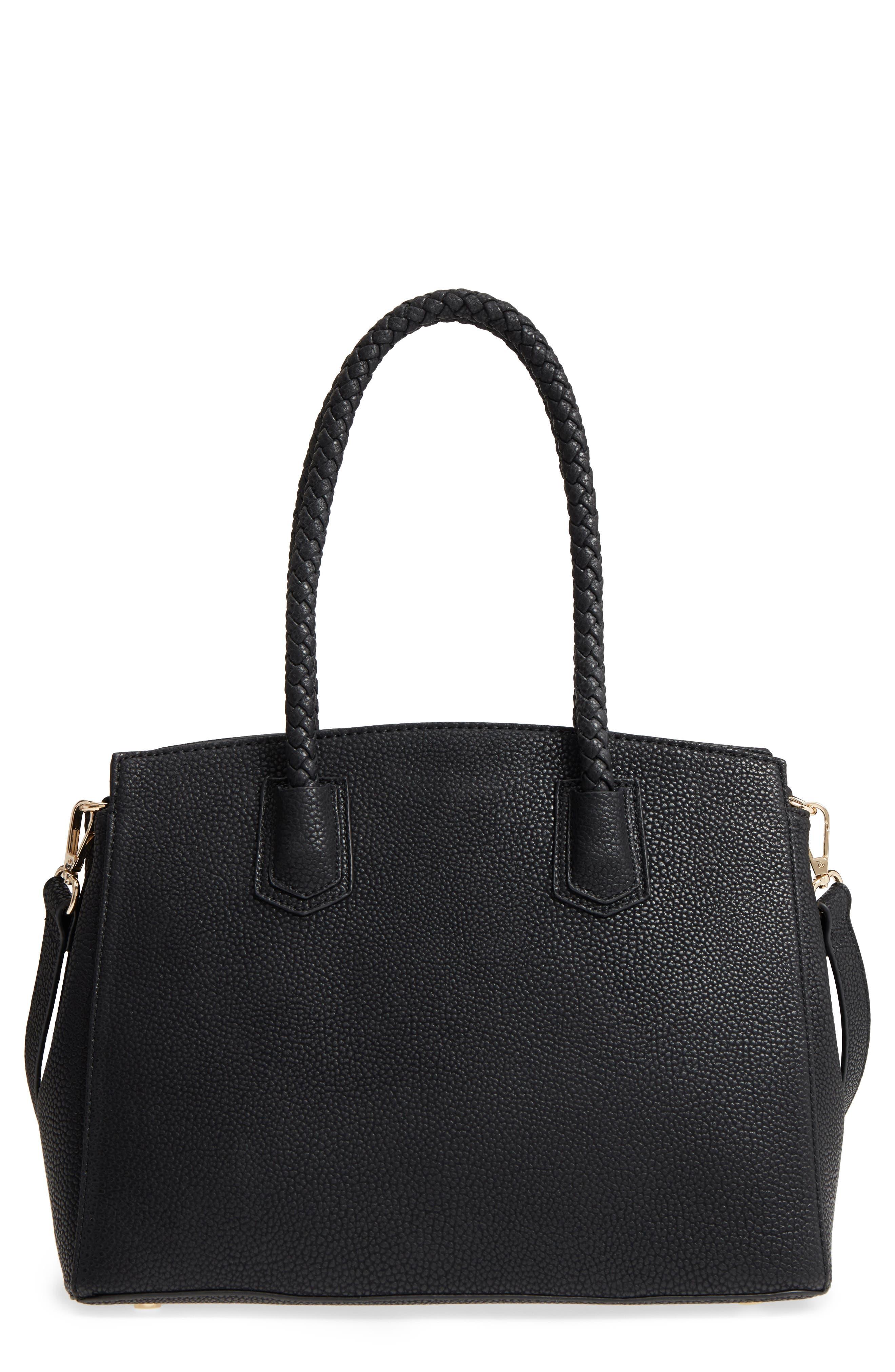 Lexington Faux Leather Satchel,                             Main thumbnail 1, color,                             Black