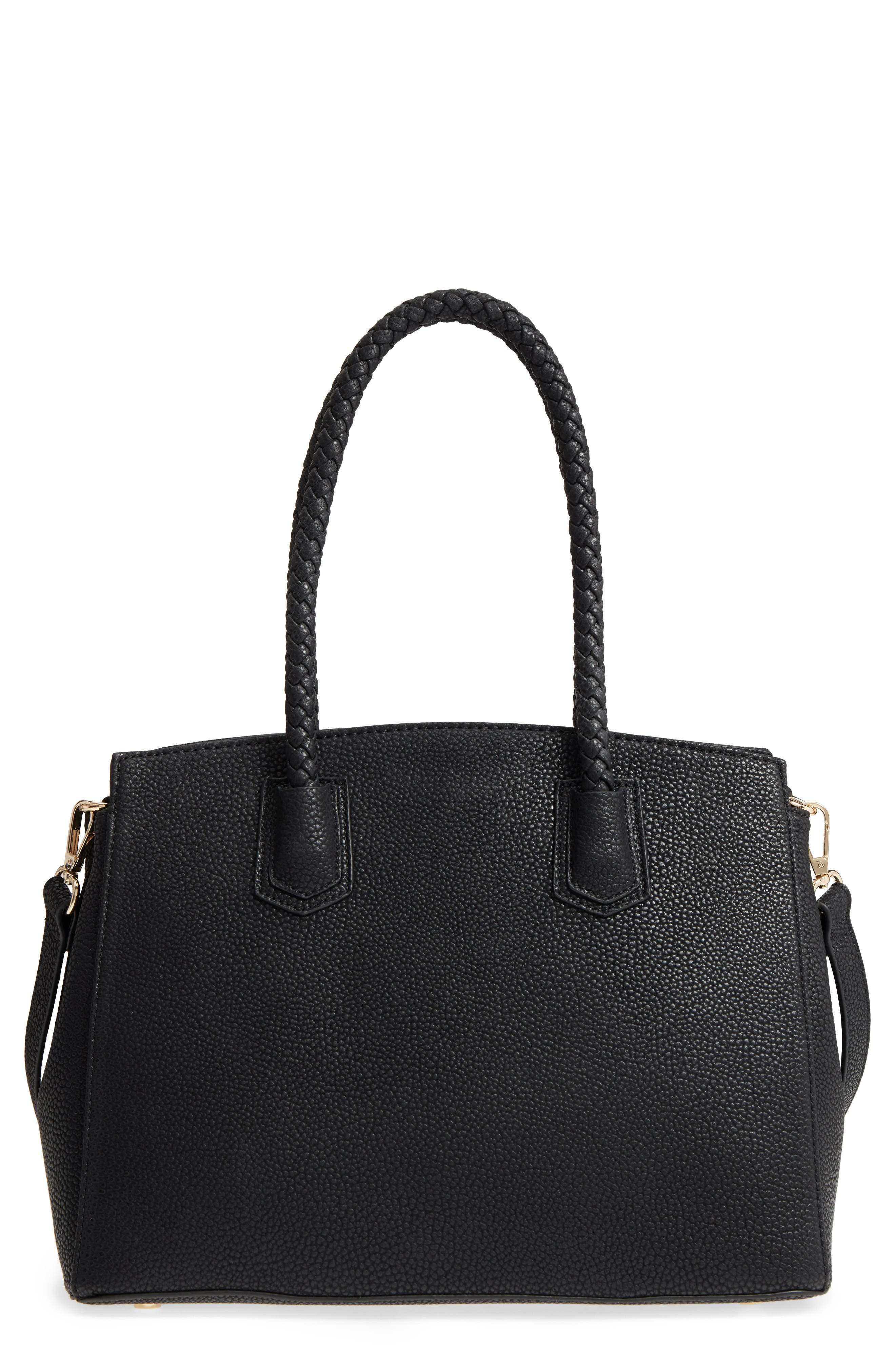 Lexington Faux Leather Satchel,                         Main,                         color, Black