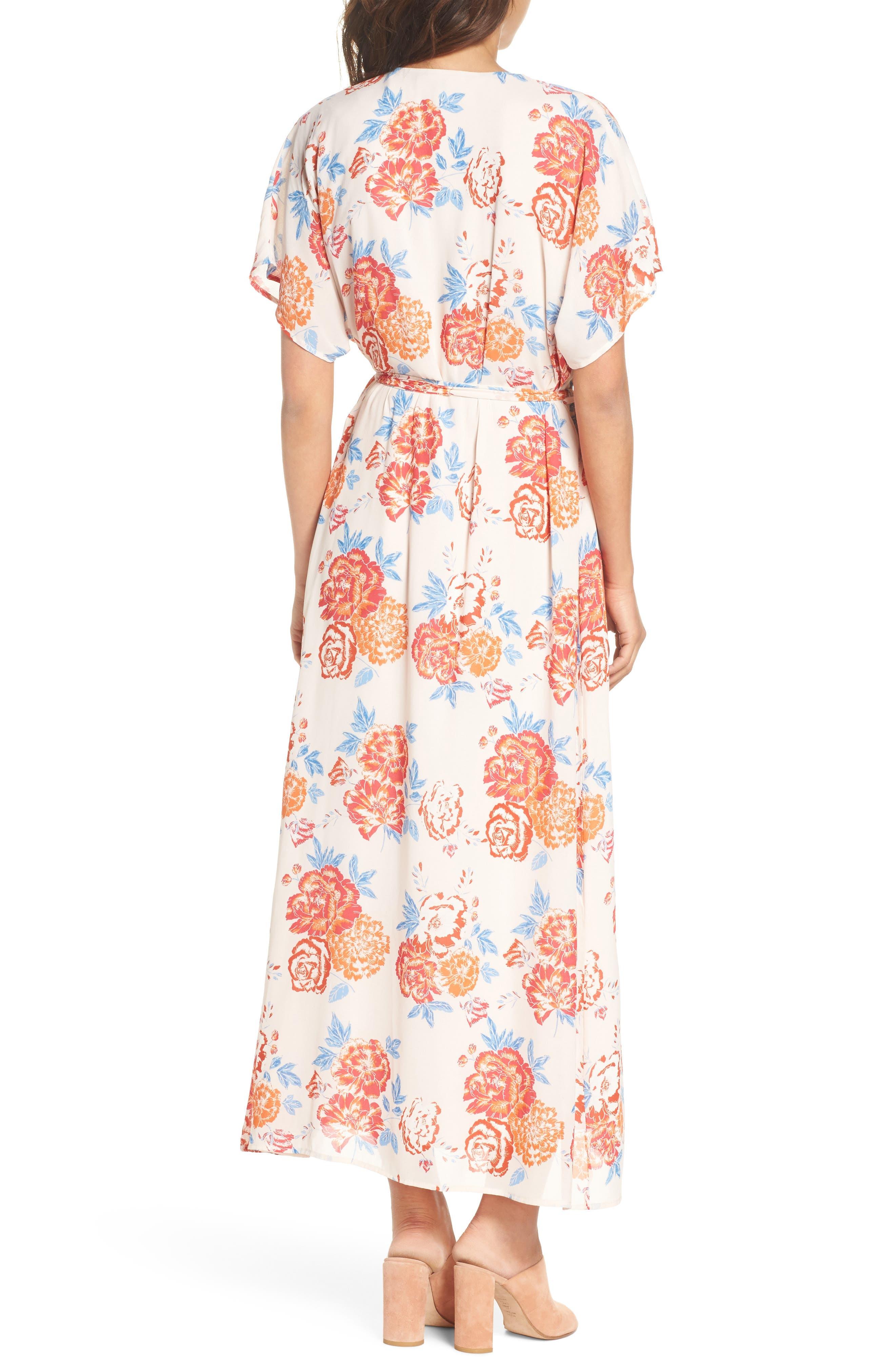 Floral Tie Waist Maxi Dress,                             Alternate thumbnail 2, color,                             Pink/ Coral Multi