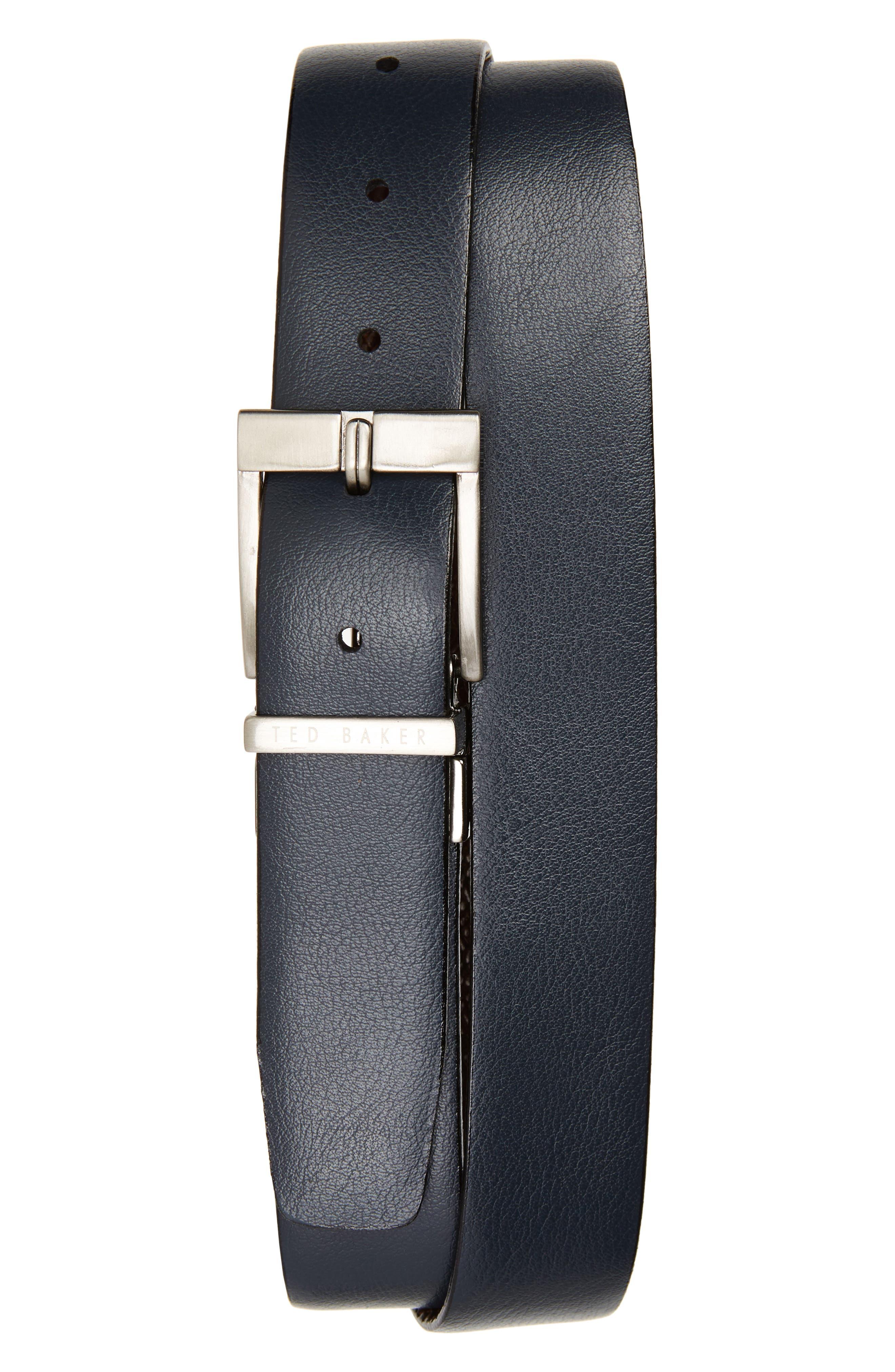 Reversible Leather Belt,                             Alternate thumbnail 2, color,                             Chocolate