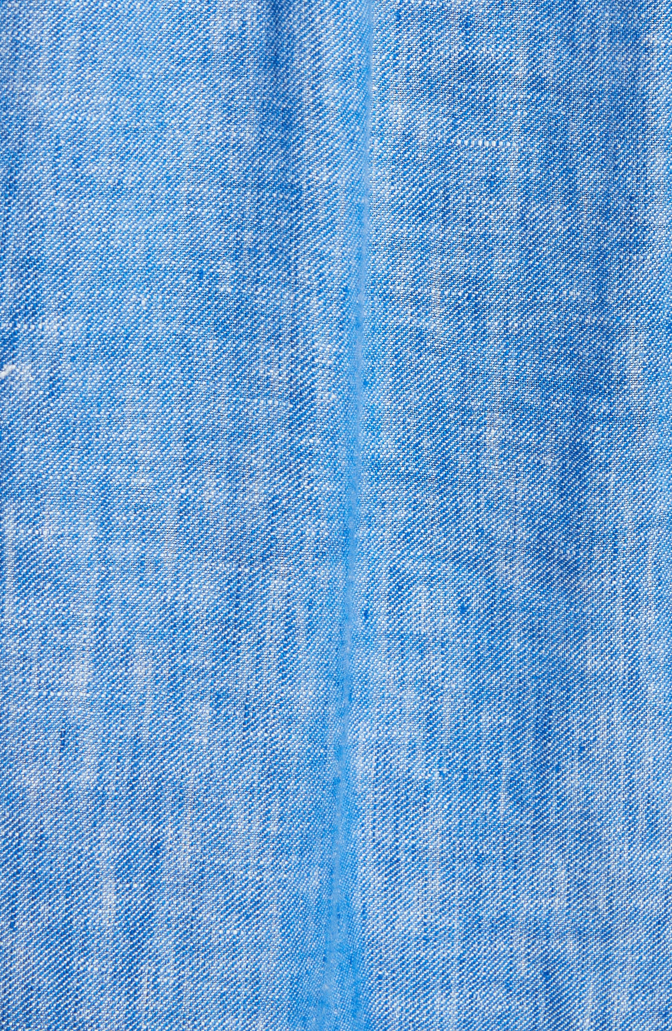 Lidelle Button Tab Linen Blouse,                             Alternate thumbnail 5, color,                             Surf Break