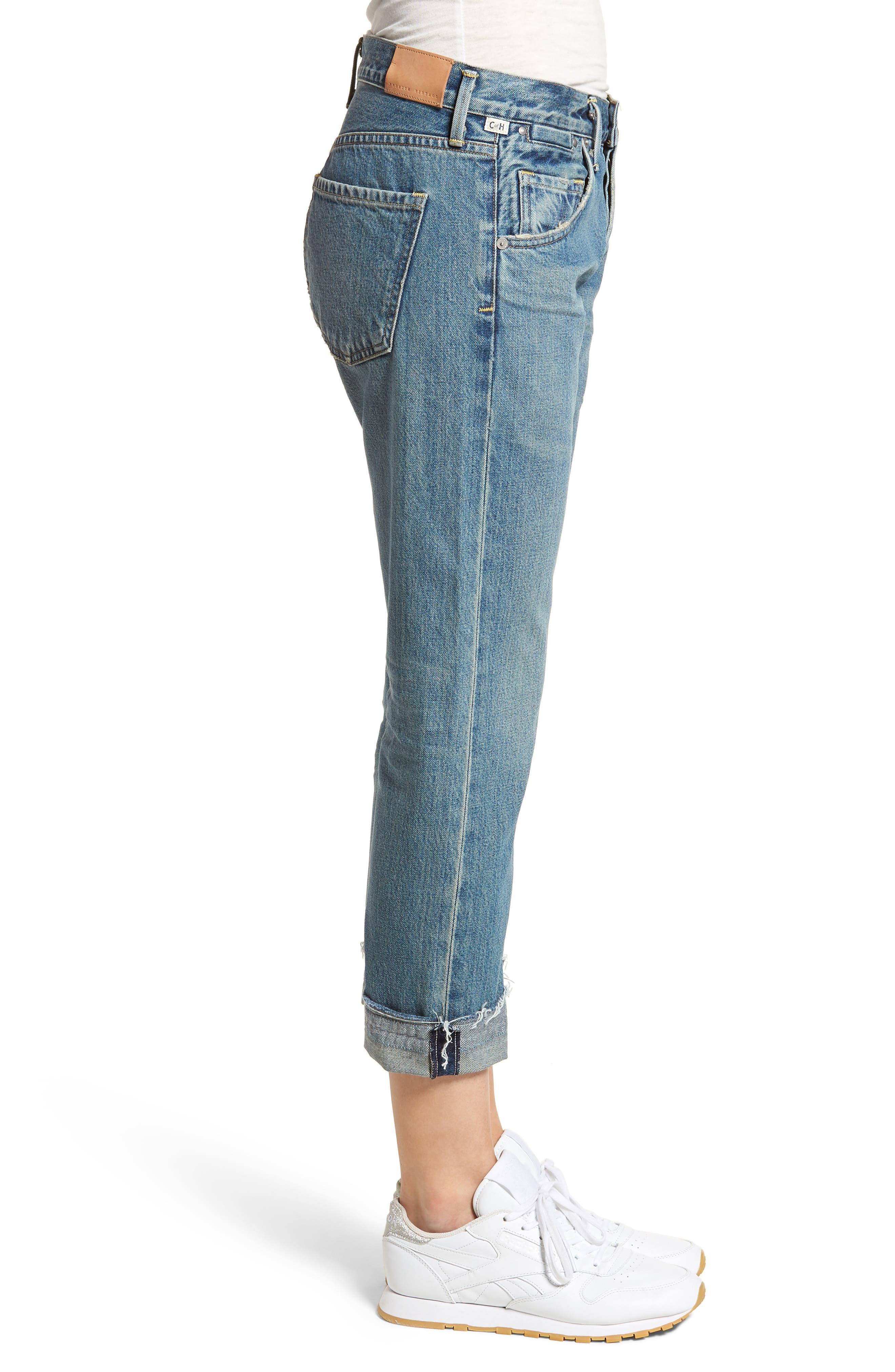 Emerson Crop Slim Boyfriend Jeans,                             Alternate thumbnail 3, color,                             Somerset
