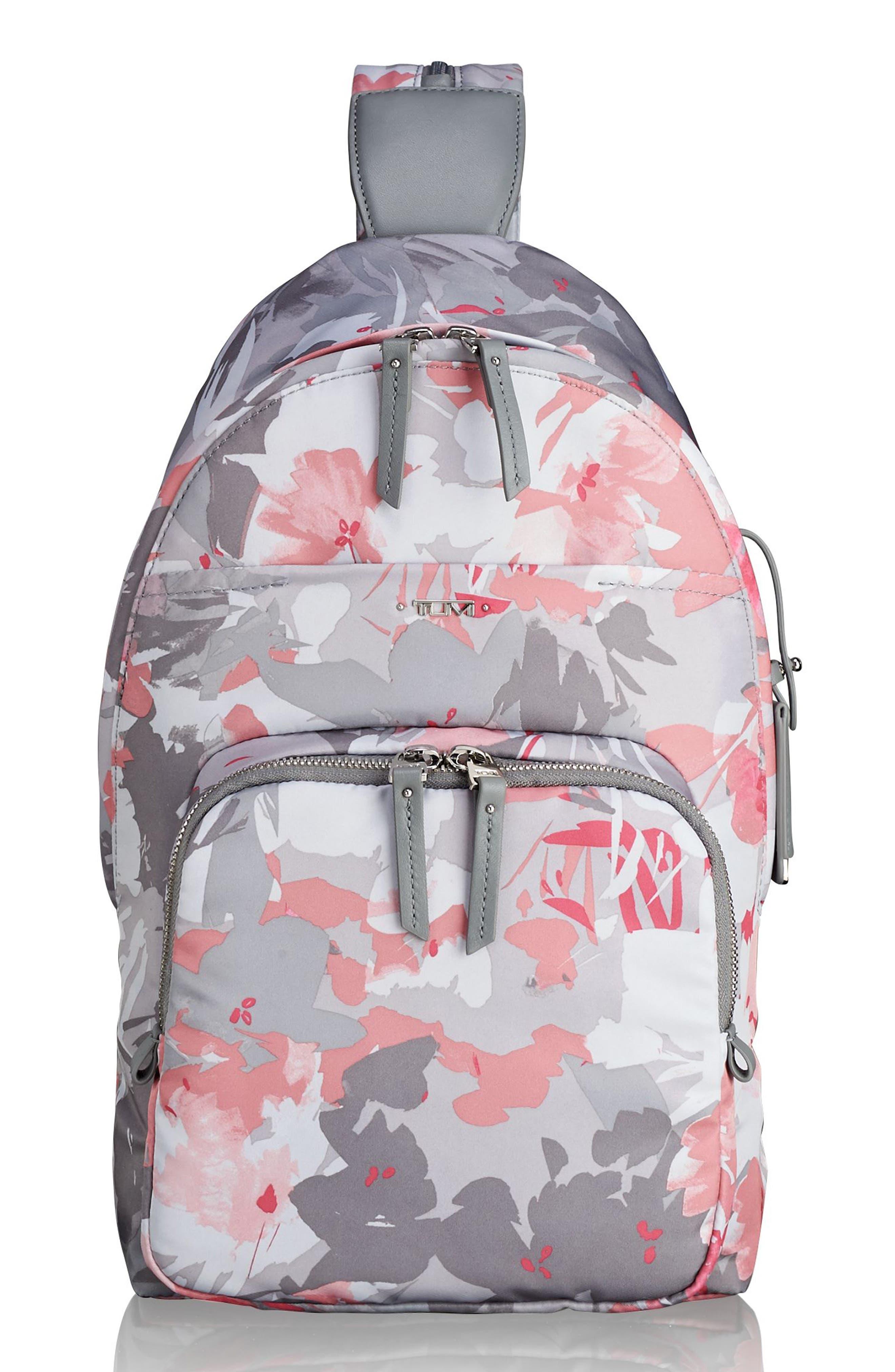Nadia Convertible Backpack,                             Main thumbnail 1, color,                             Grey Floral Print