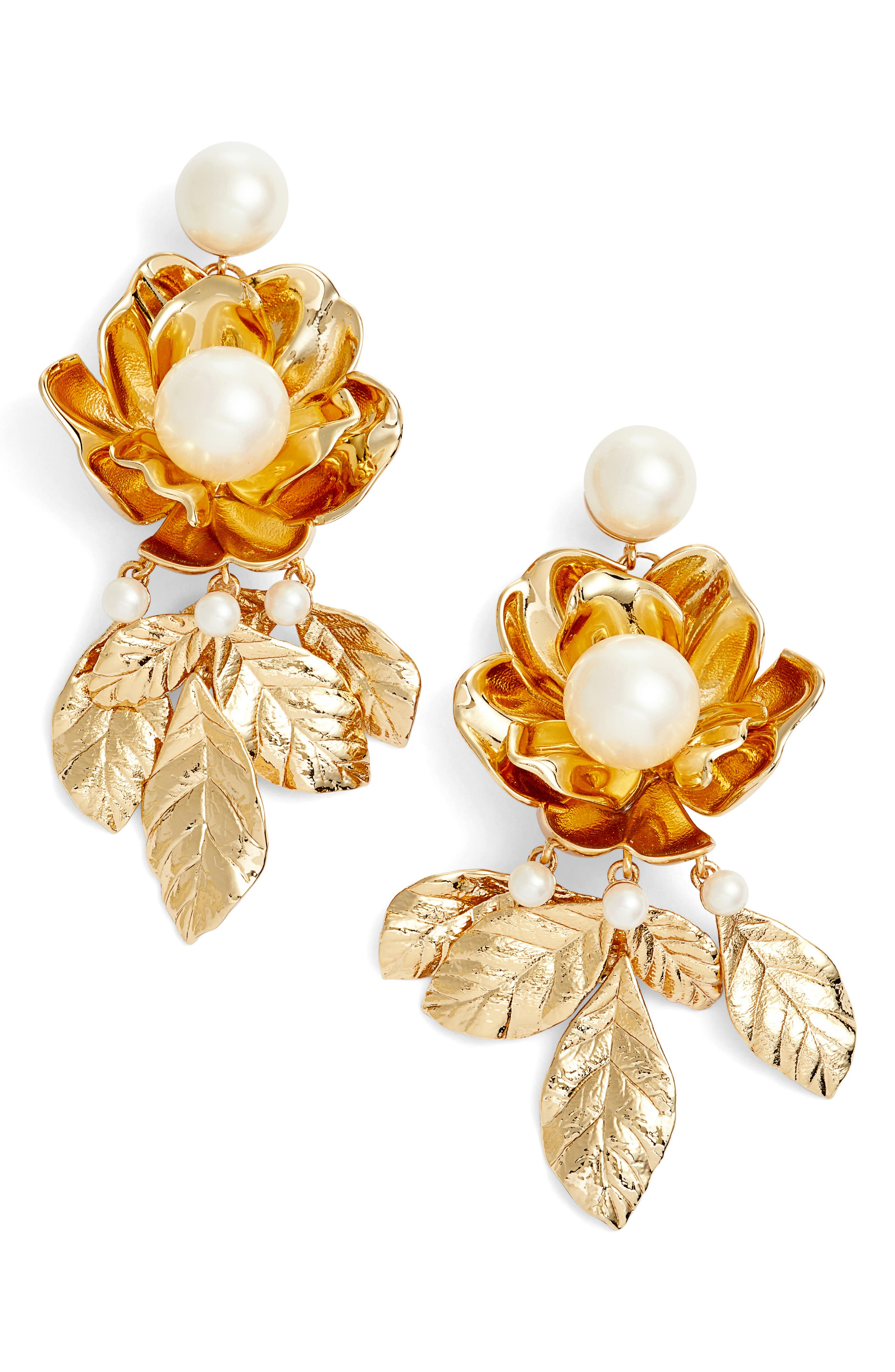 kate spade imitation pearl flower earrings,                         Main,                         color, Gold