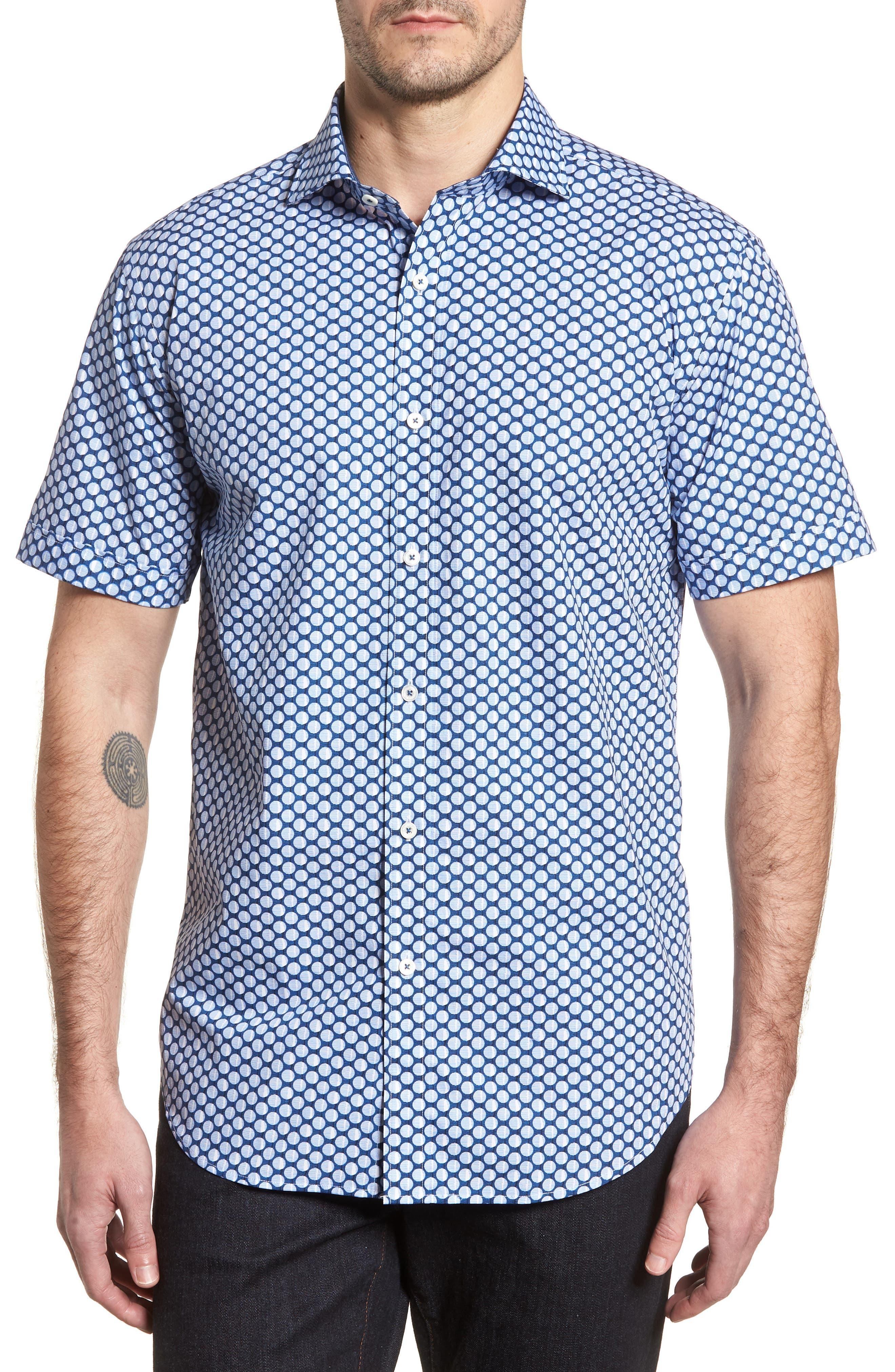 Shaped Fit Polka Dot Sport Shirt,                         Main,                         color, Classic Blue