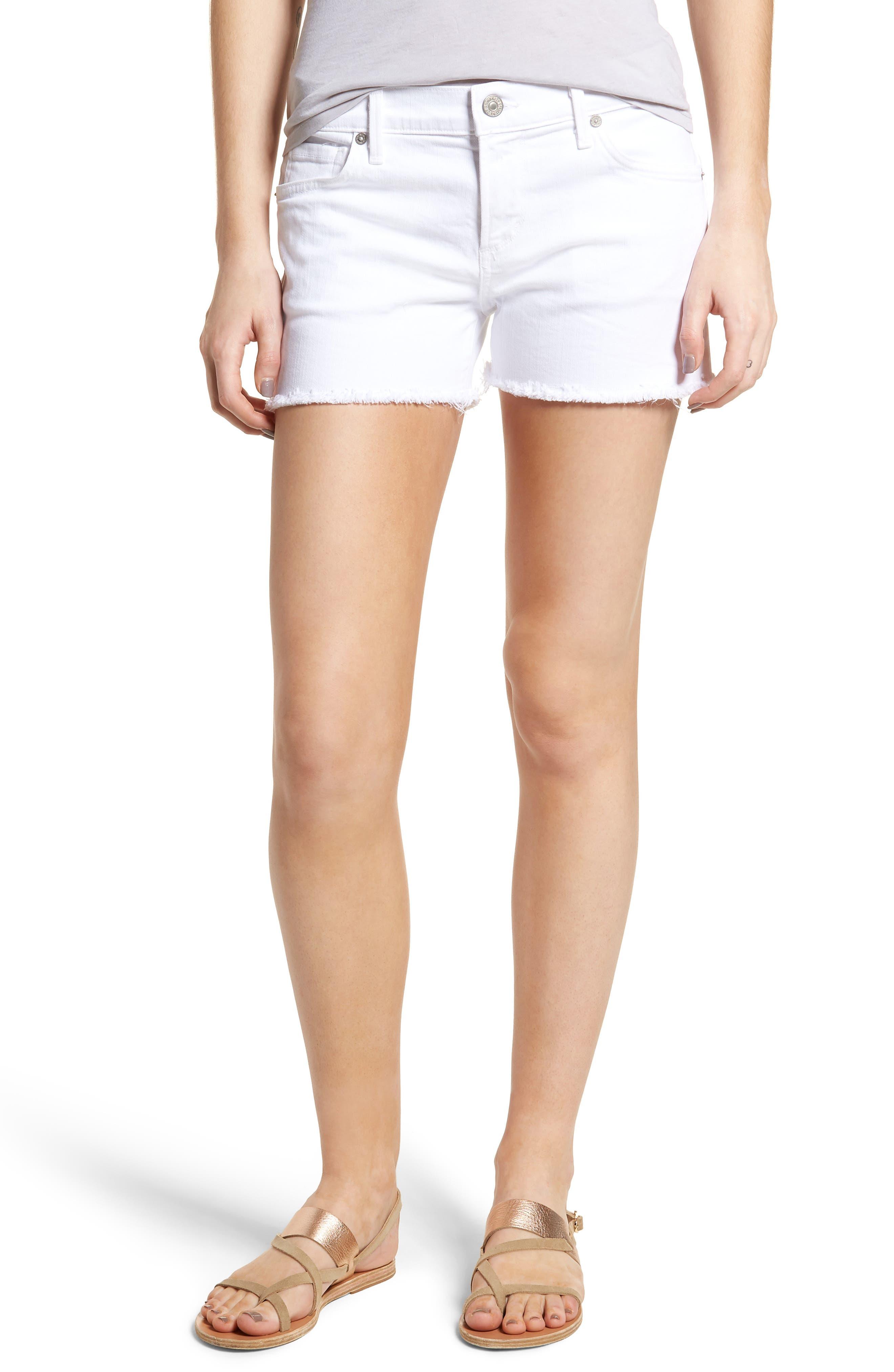 Ava Cutoff Denim Shorts,                         Main,                         color, Optic White