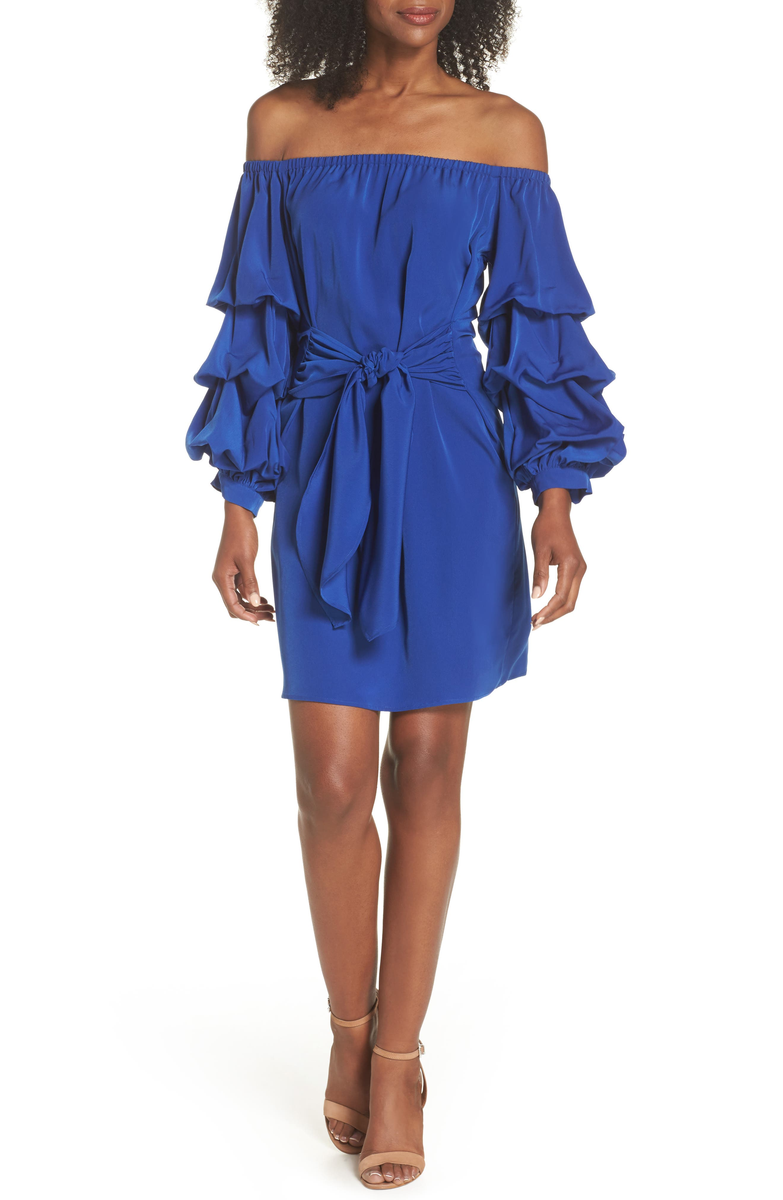 Off the Shoulder Tiered Sleeve Dress,                         Main,                         color, Blue Mazarine