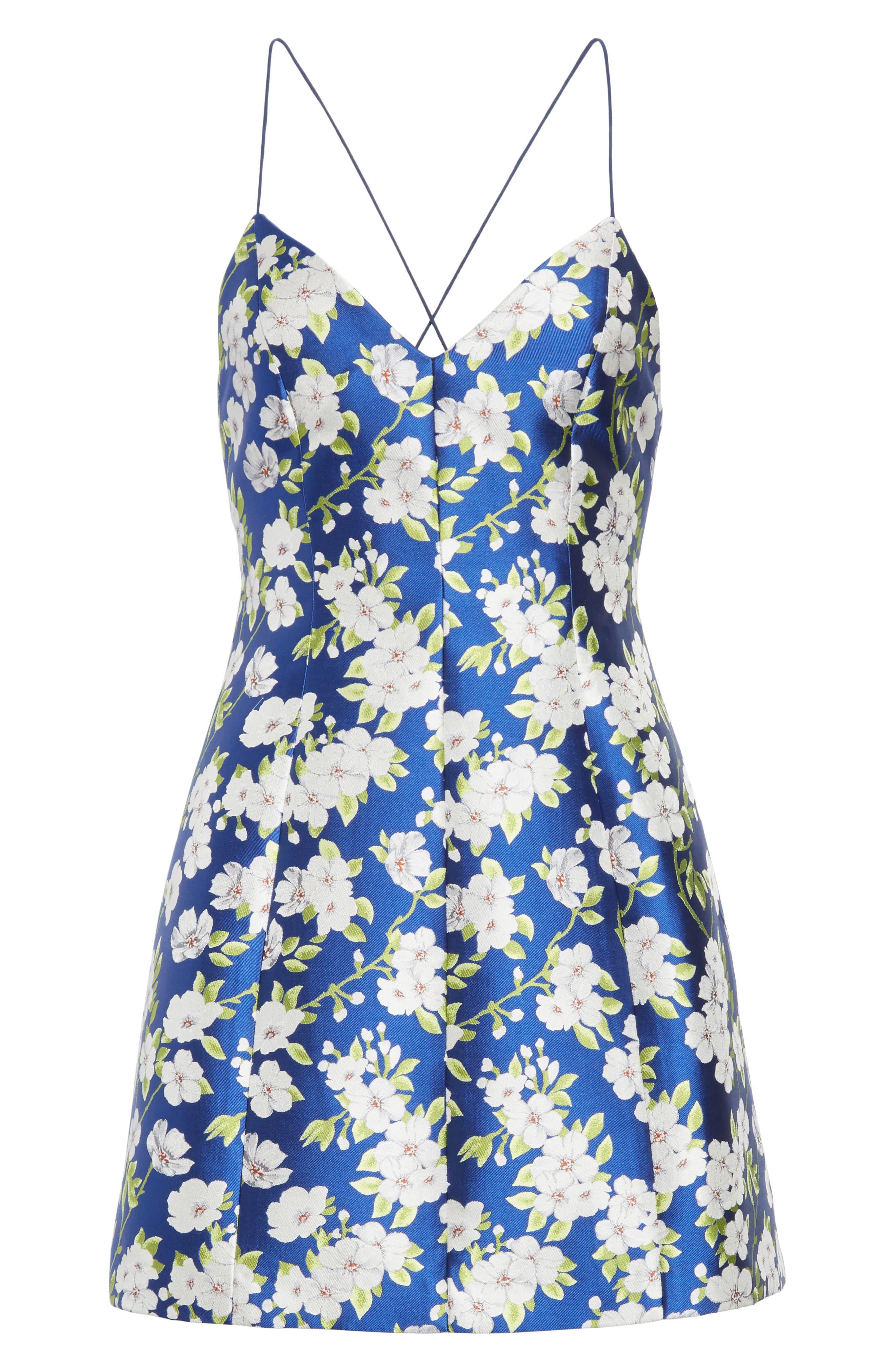 Tayla Structured Lantern Mini Dress,                             Alternate thumbnail 6, color,                             Indigo/ White