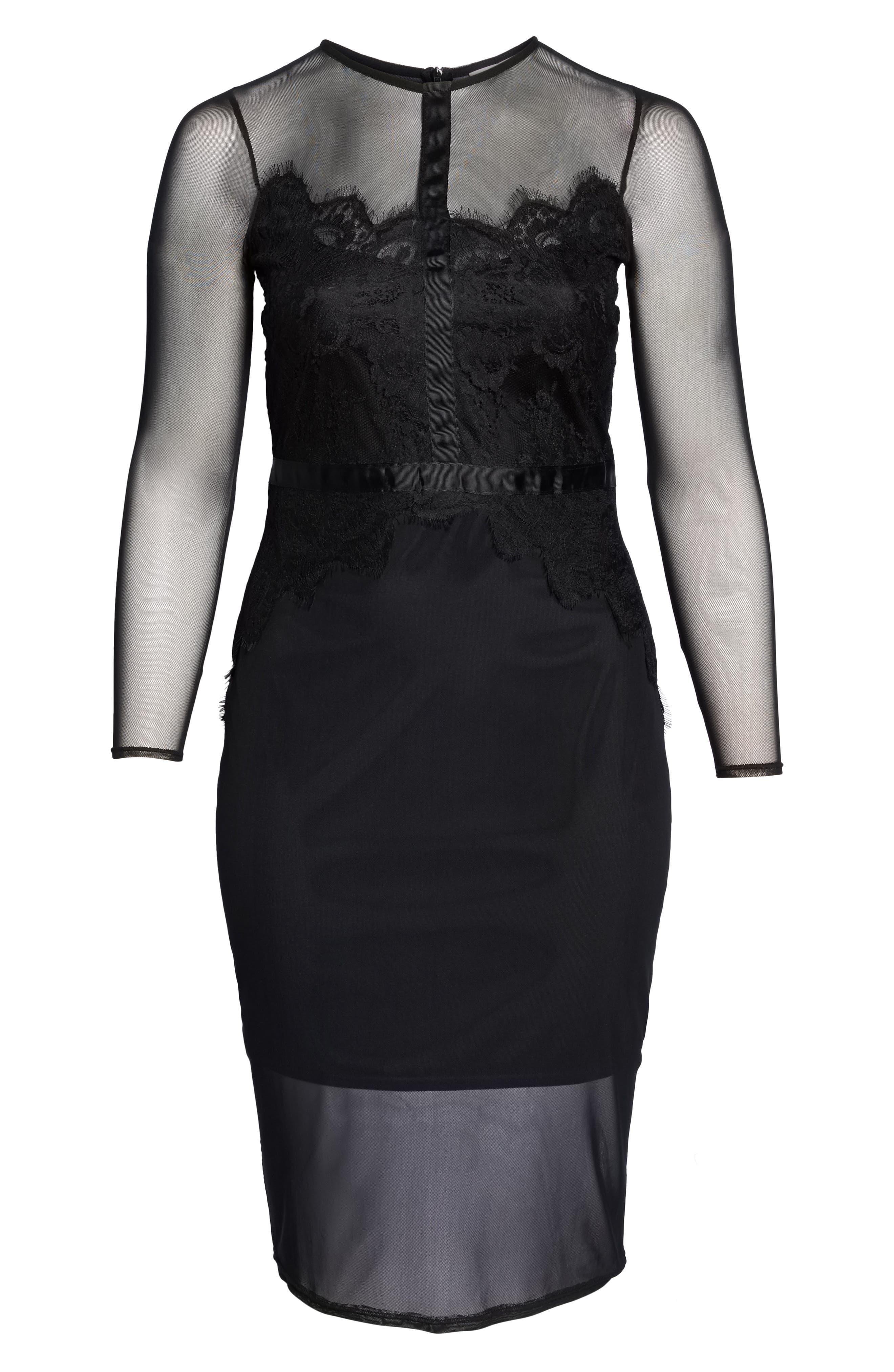 Body-Con Mesh Dress,                             Alternate thumbnail 6, color,                             Black