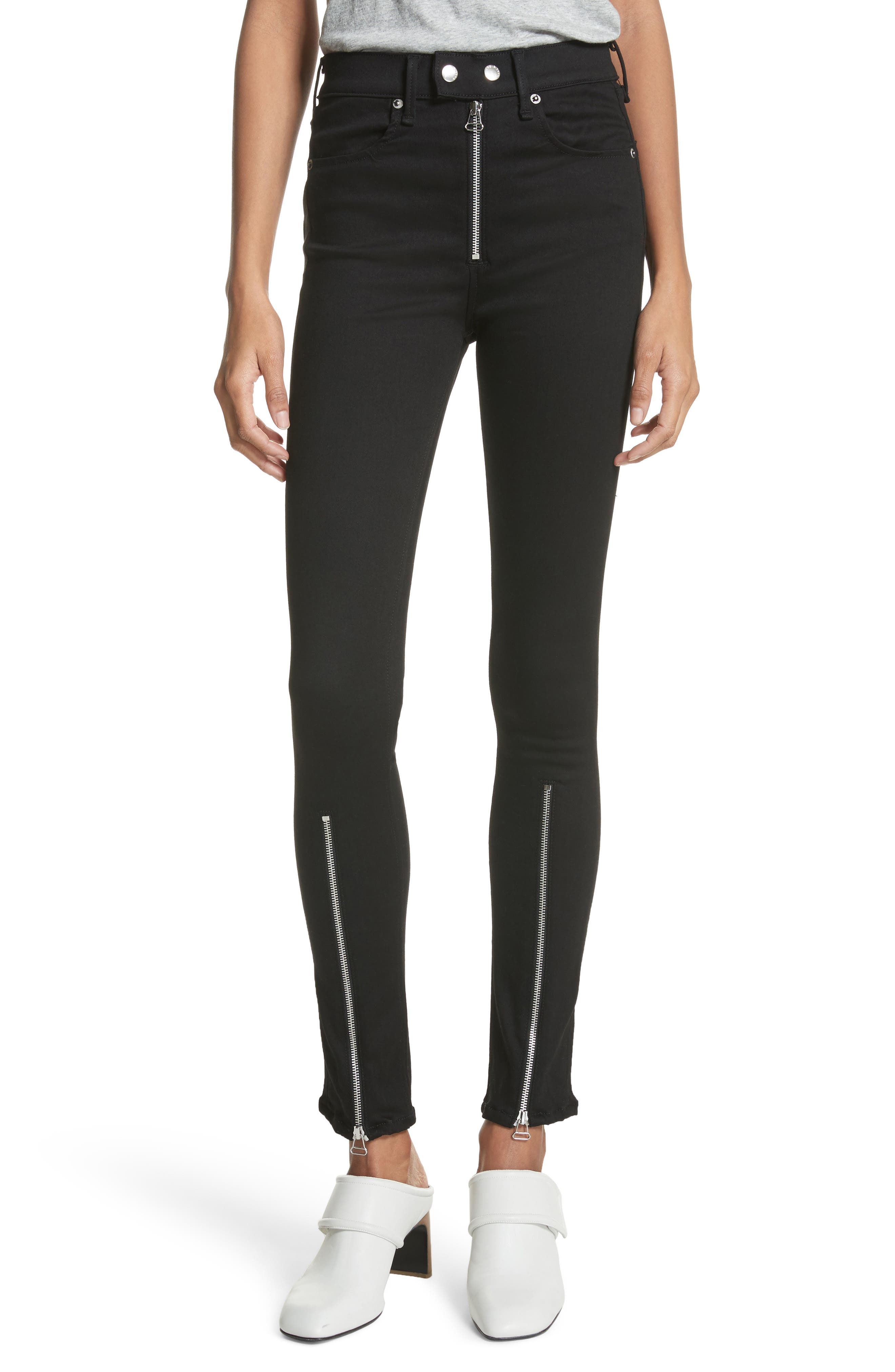 Isabel High Waist Skinny Jeans,                             Main thumbnail 1, color,                             Black