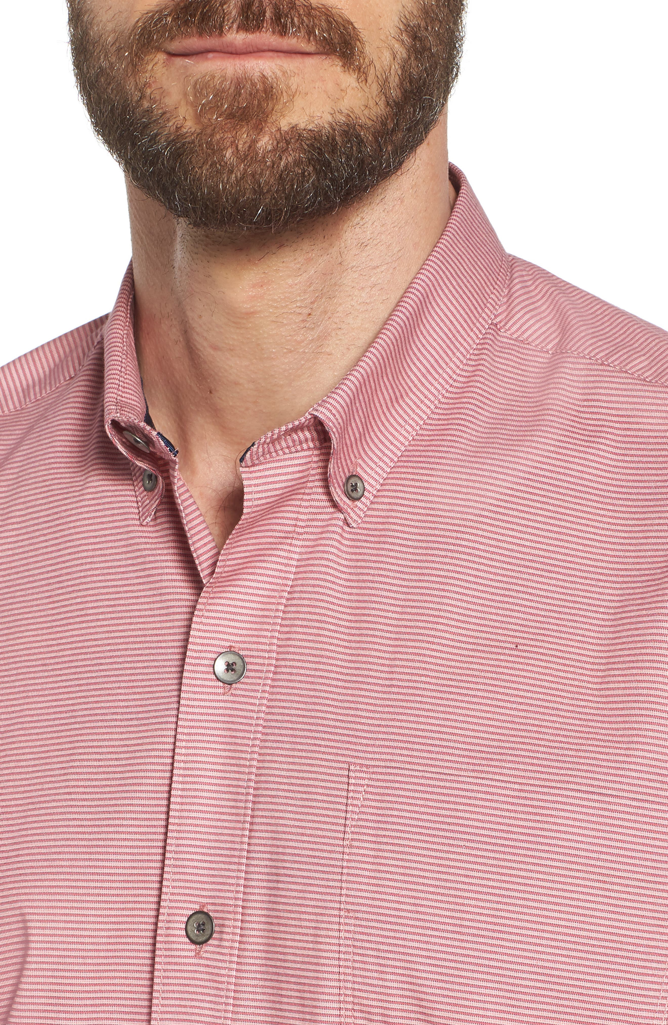 Reworked Slim Fit Micro Stripe Sport Shirt,                             Alternate thumbnail 4, color,                             Pink