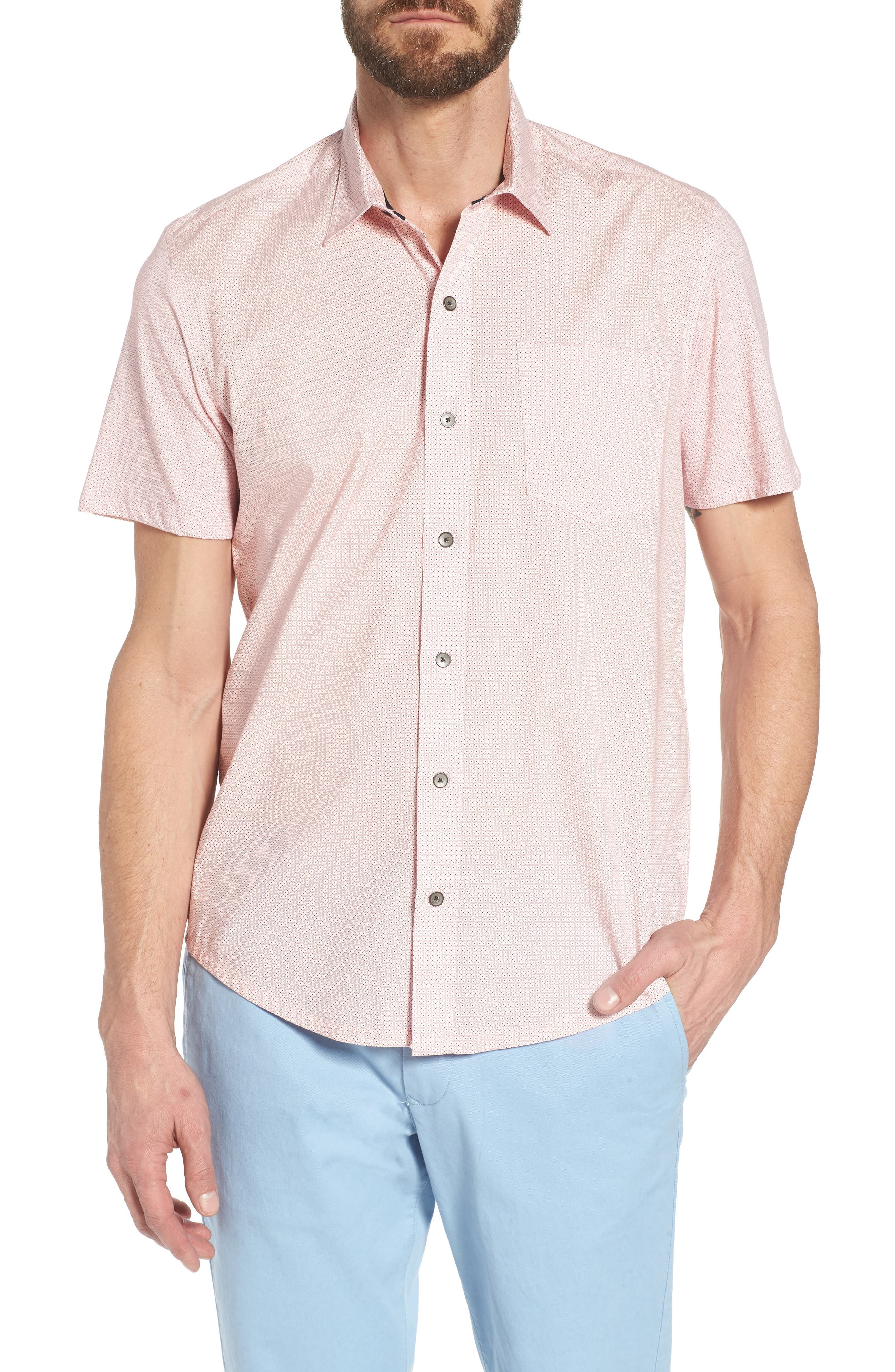 Square Slim Fit Dot Sport Shirt,                         Main,                         color, Pink