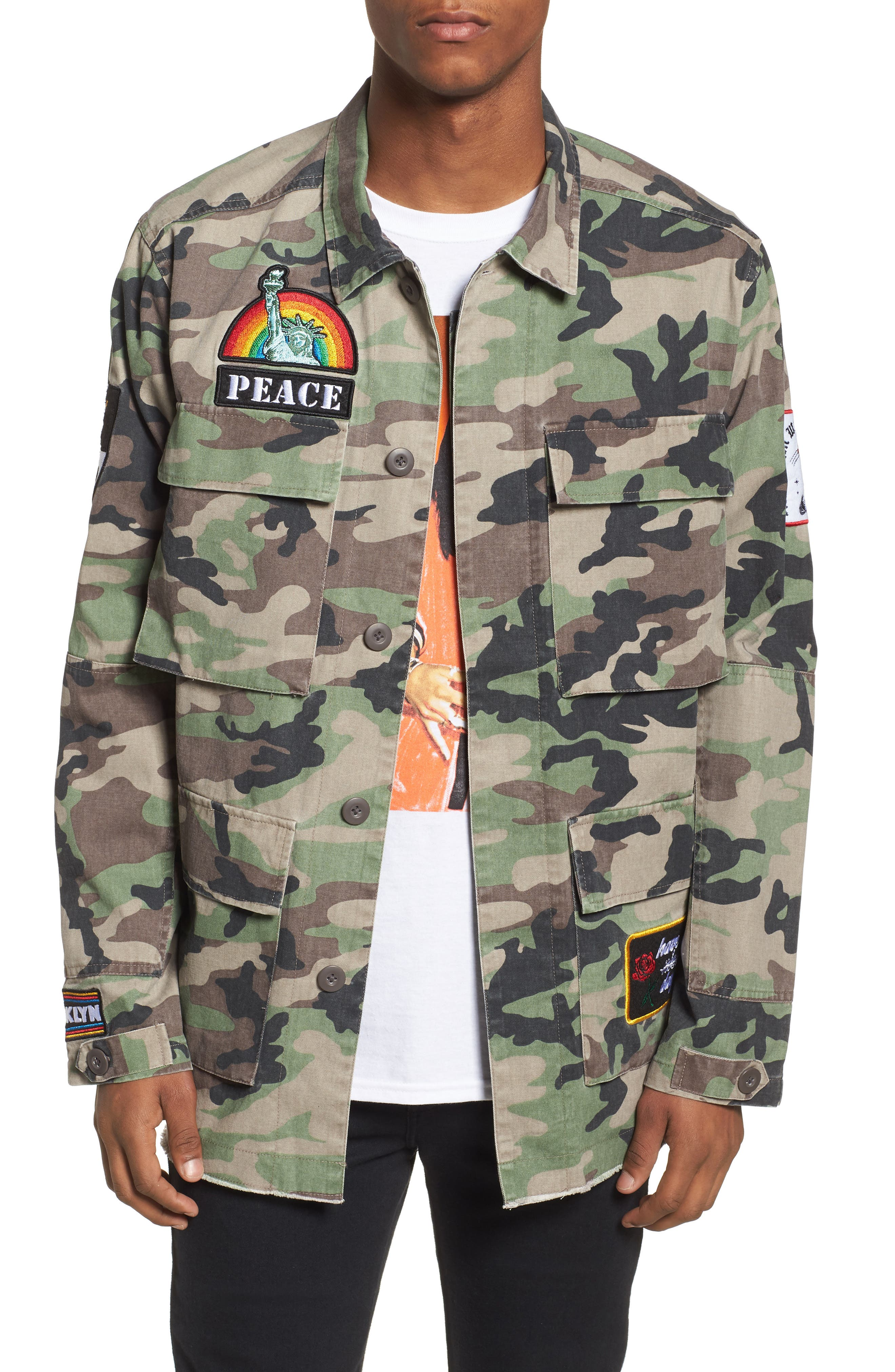 Military Patch Jacket,                         Main,                         color, Brown Green Camo