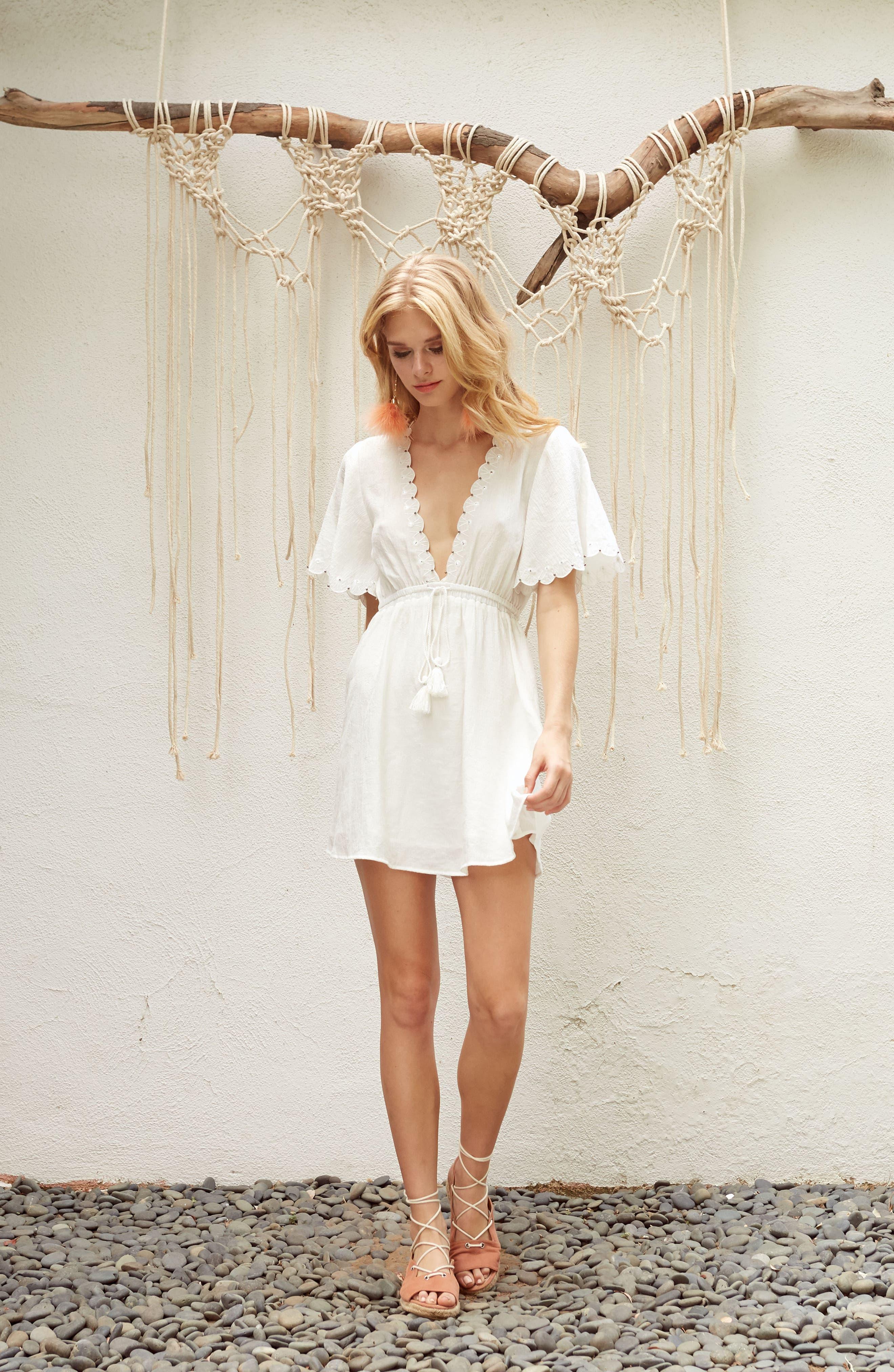 Magnolia Flutter Sleeve Dress,                             Alternate thumbnail 8, color,                             White