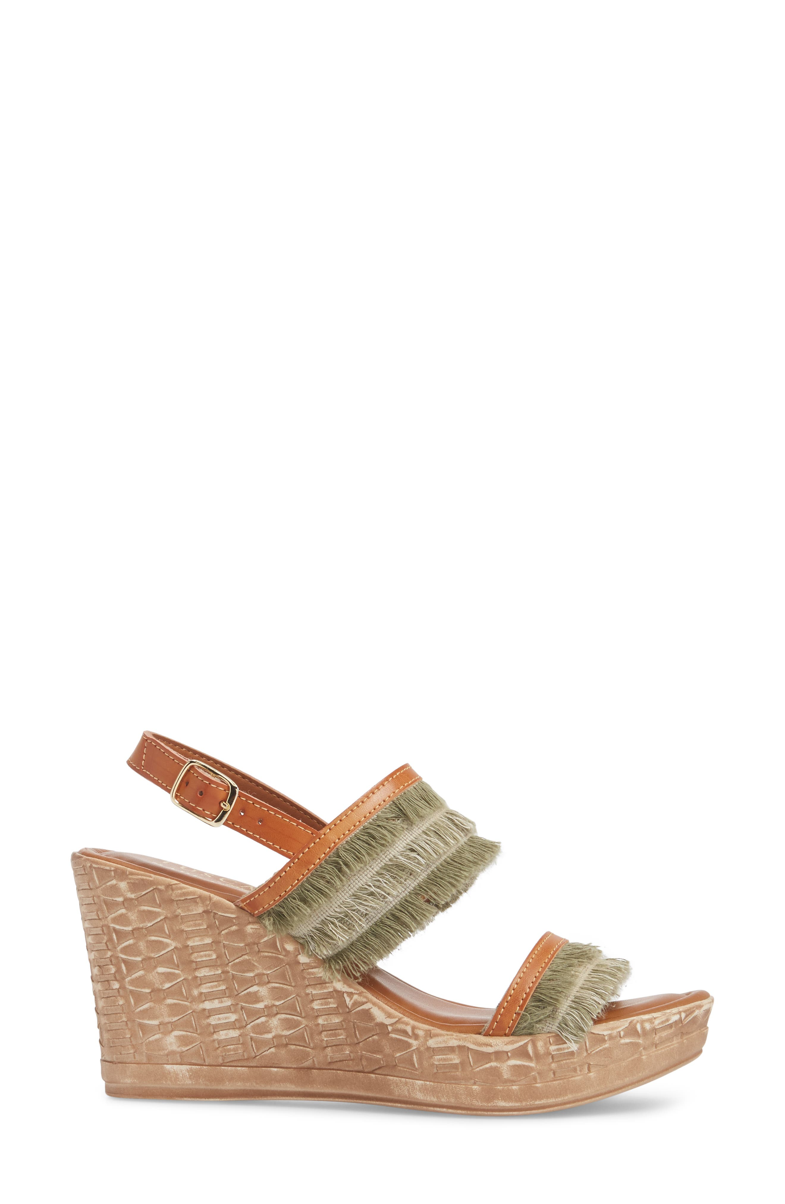 by Easy Street<sup>®</sup> Zaira Wedge Espadrille Sandal,                             Alternate thumbnail 3, color,                             Khaki Faux Leather