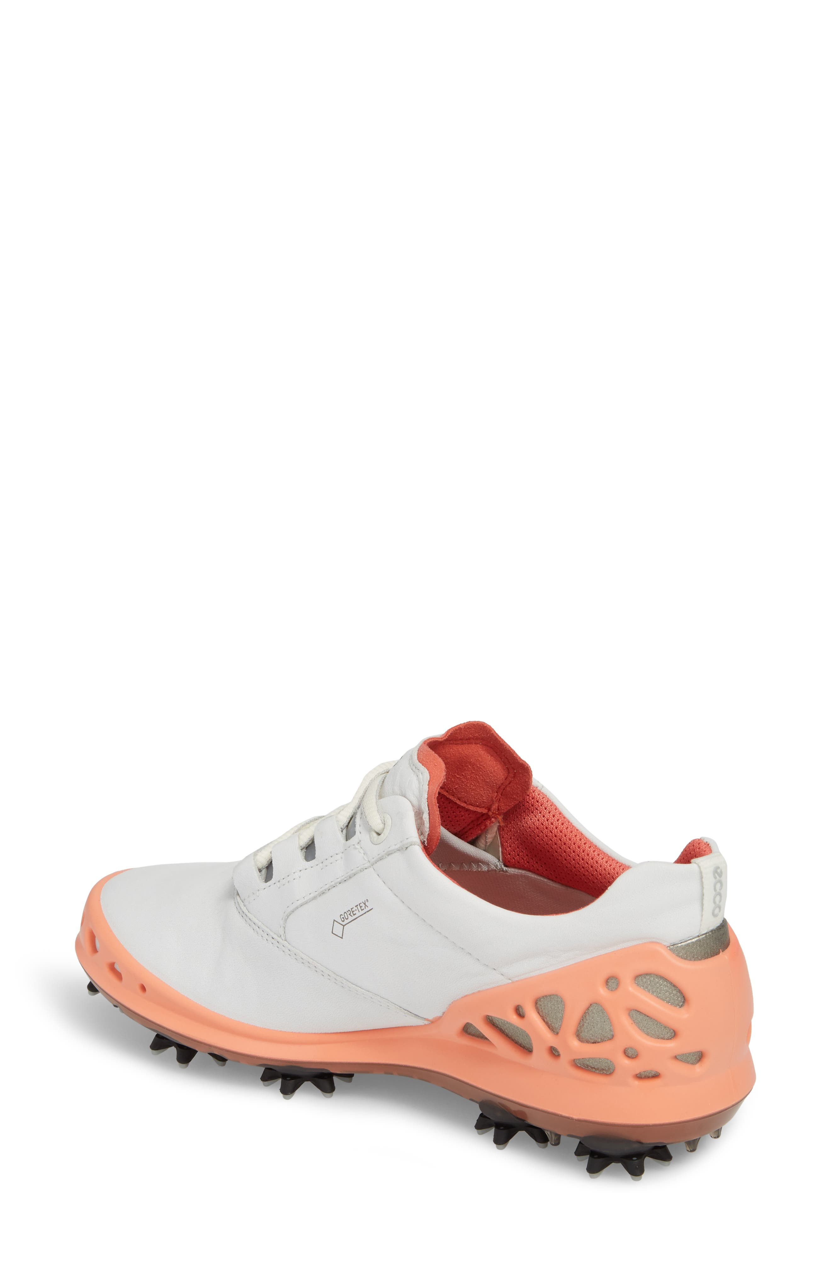 Cage Gore-Tex<sup>®</sup> Golf Shoe,                             Alternate thumbnail 2, color,                             White/ Coral Leather