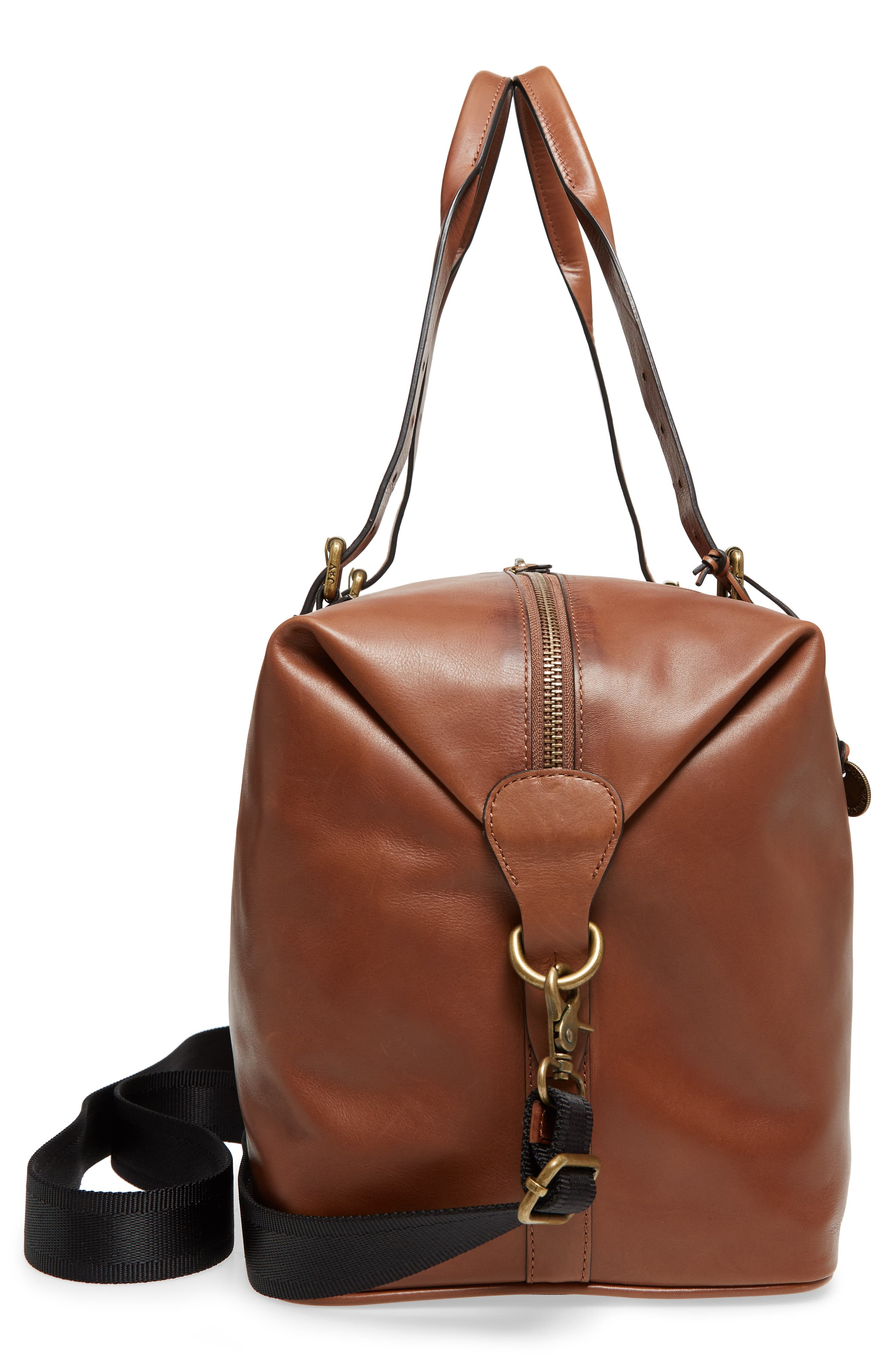 Heritage Leather Duffel Bag,                             Alternate thumbnail 5, color,                             Brownstone