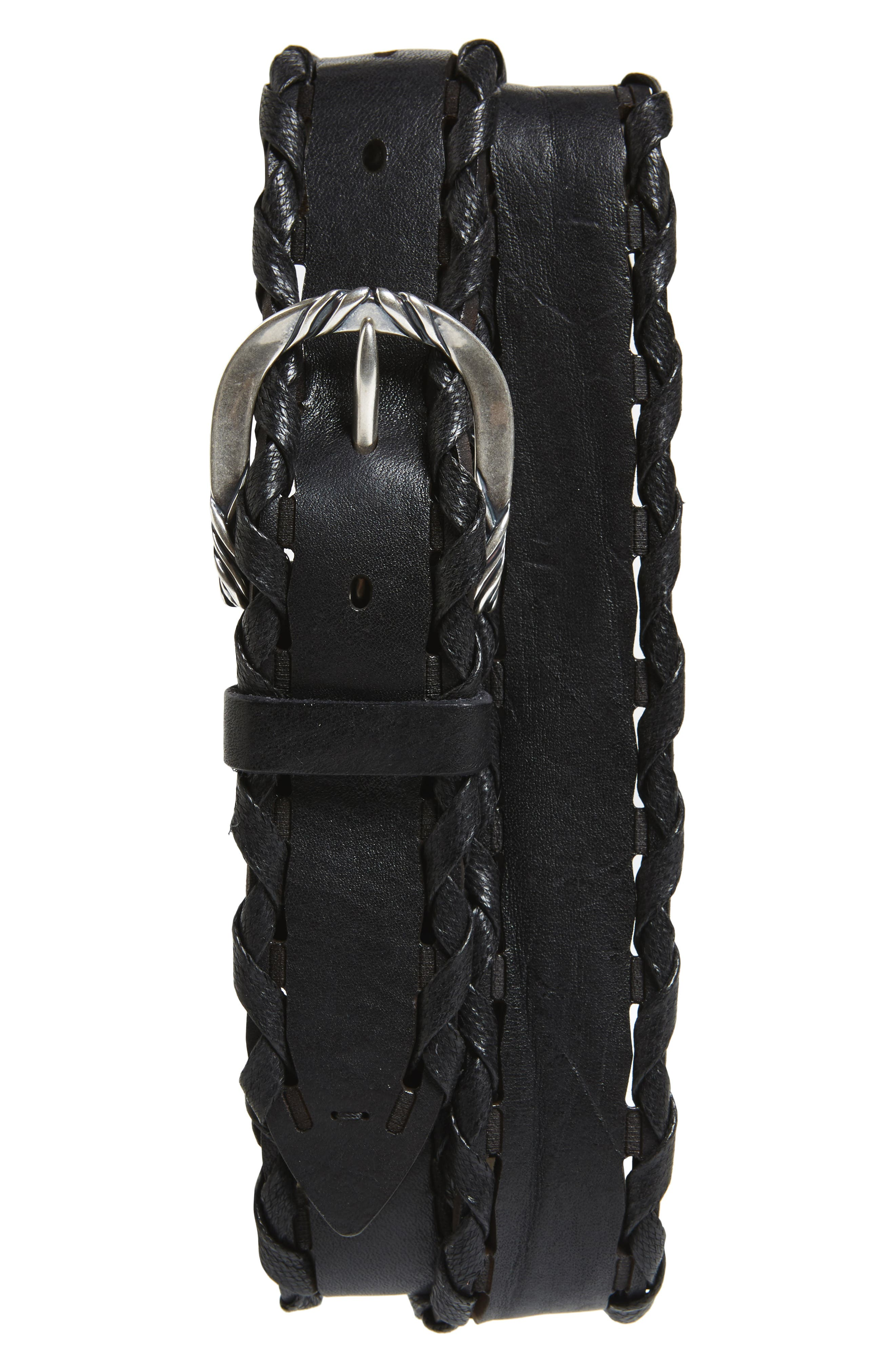Wax Woven Leather Belt,                         Main,                         color, Nero