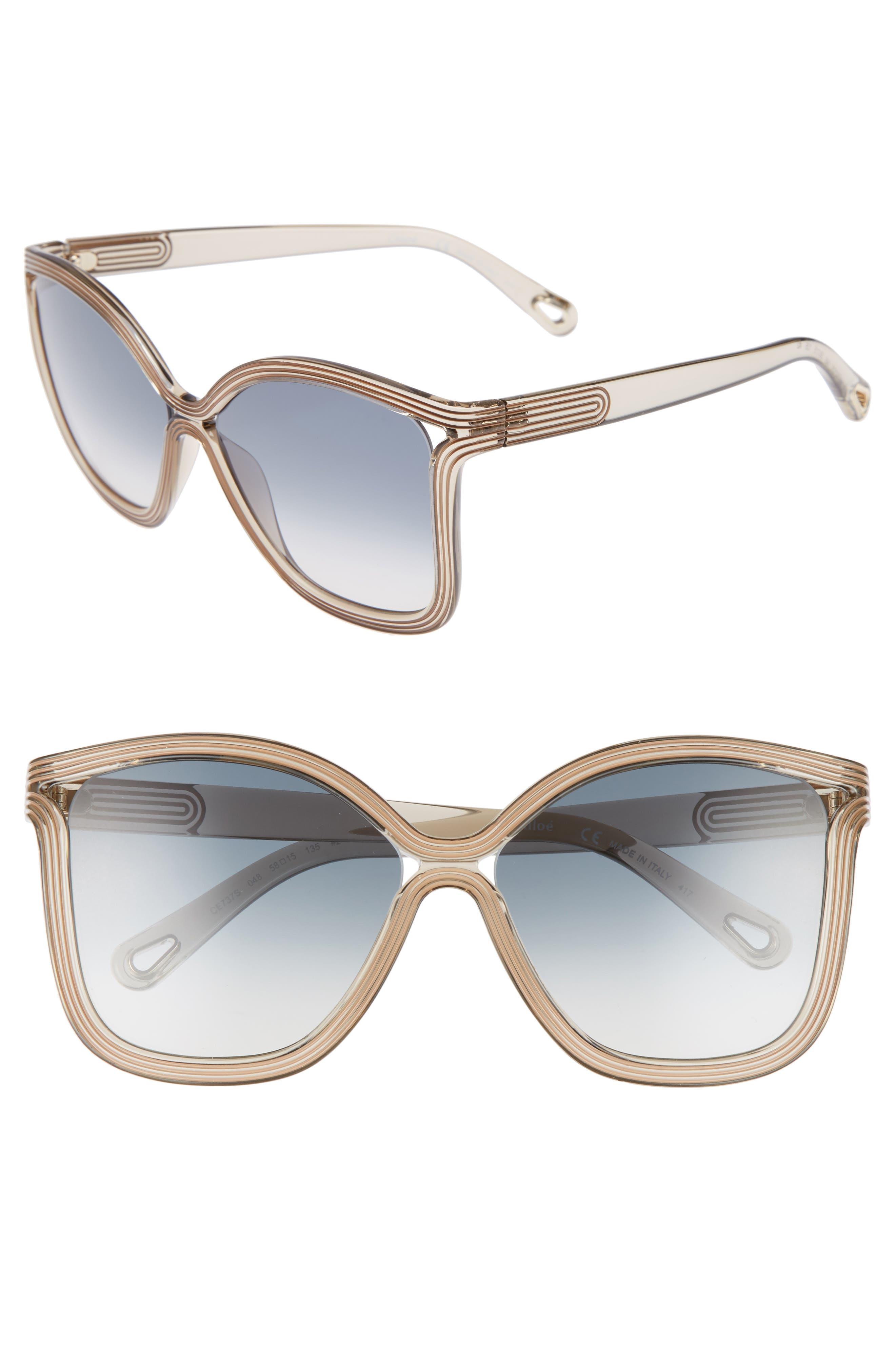 Grooves 58mm Rectangular Sunglasses,                             Main thumbnail 1, color,                             Greige