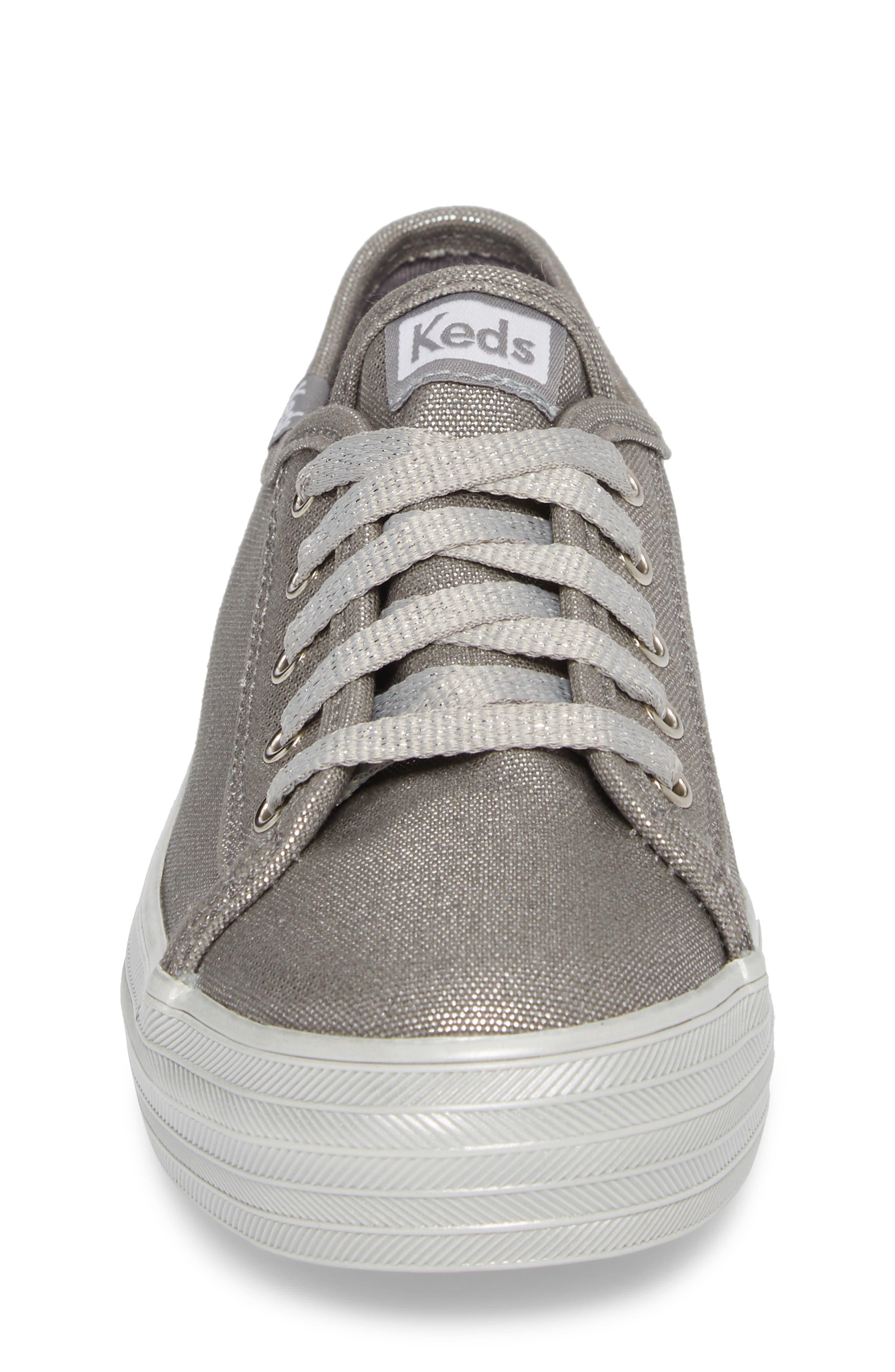Triple Kick Platform Sneaker,                             Alternate thumbnail 4, color,                             Silver/ Silver