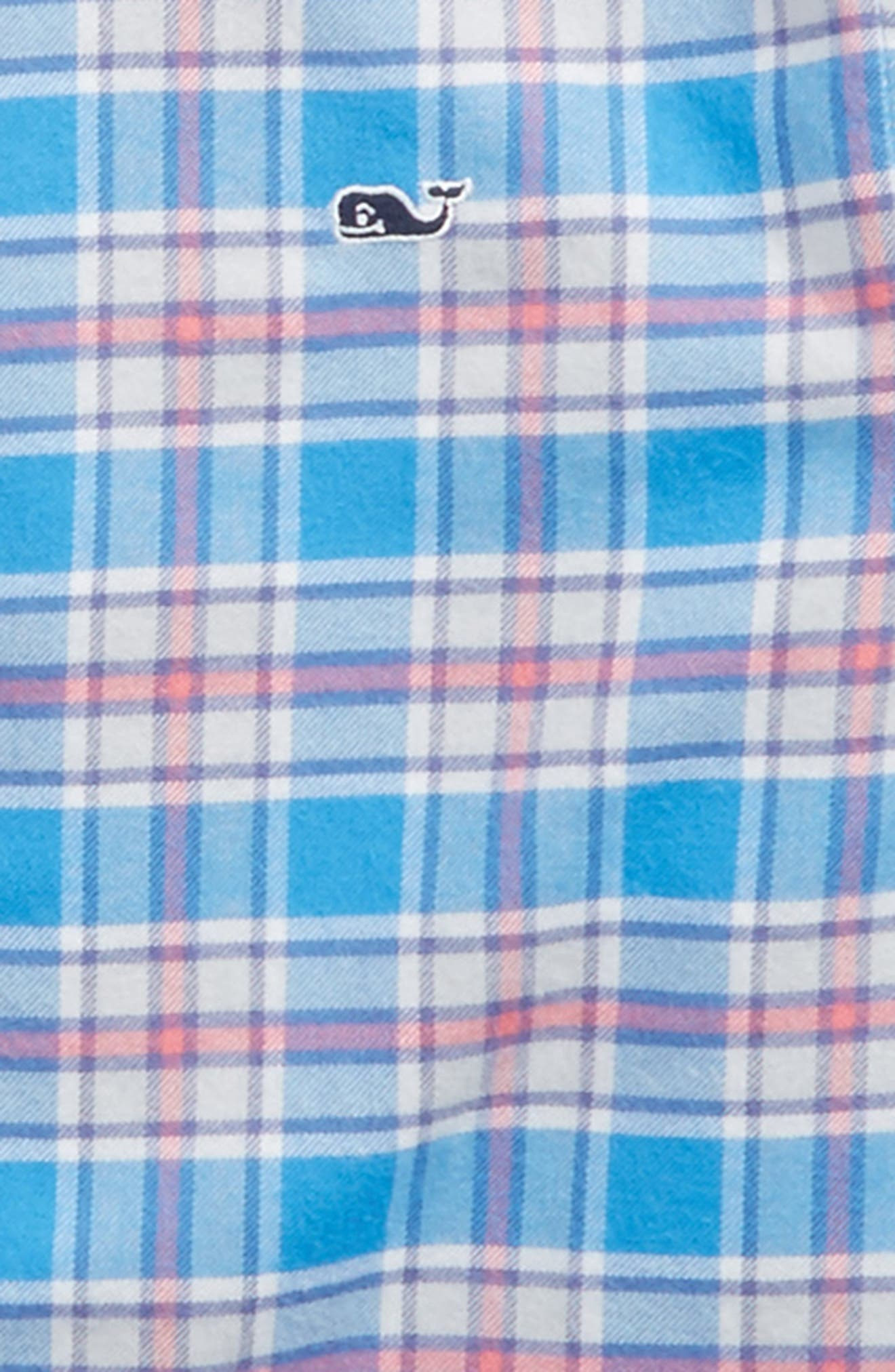 Sandy Point Plaid Whale Flannel Shirt,                             Alternate thumbnail 2, color,                             Hull Blue