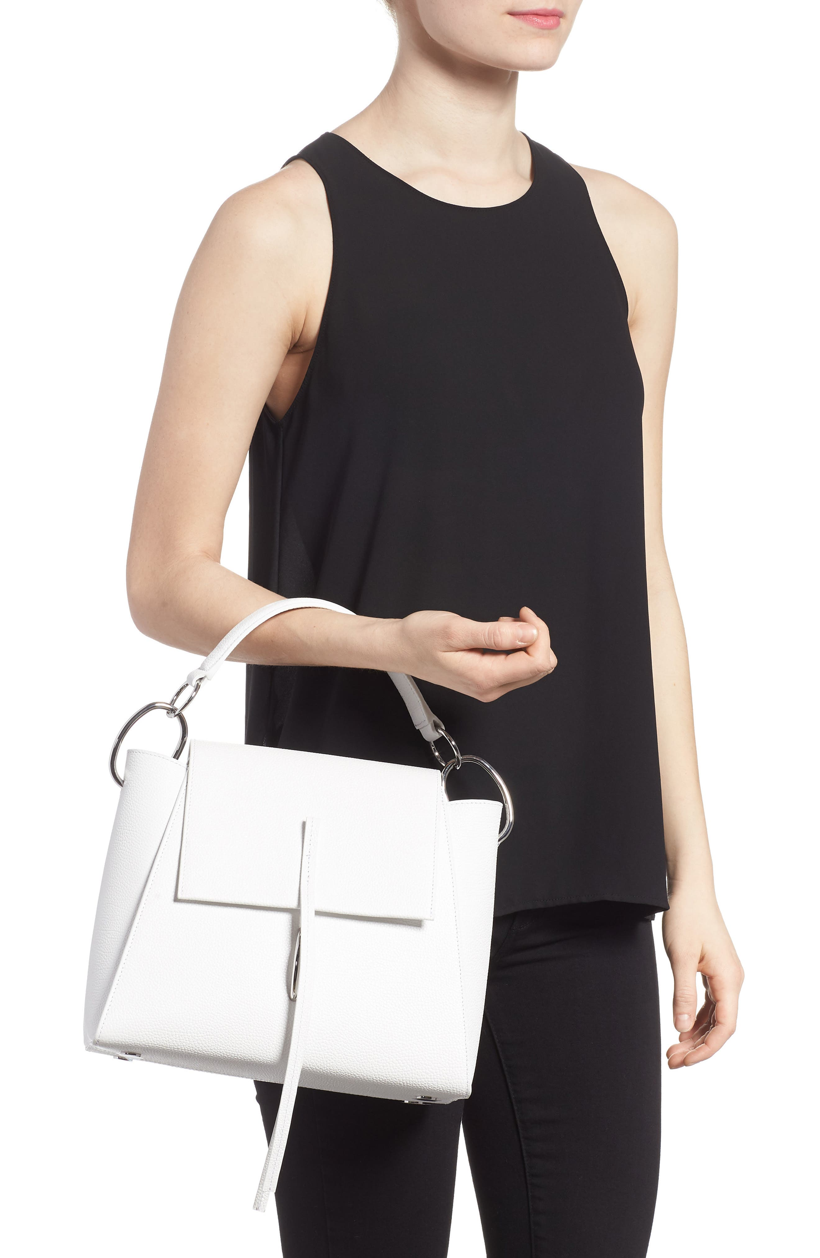 Leigh Top Handle Leather Satchel,                             Alternate thumbnail 2, color,                             Off White