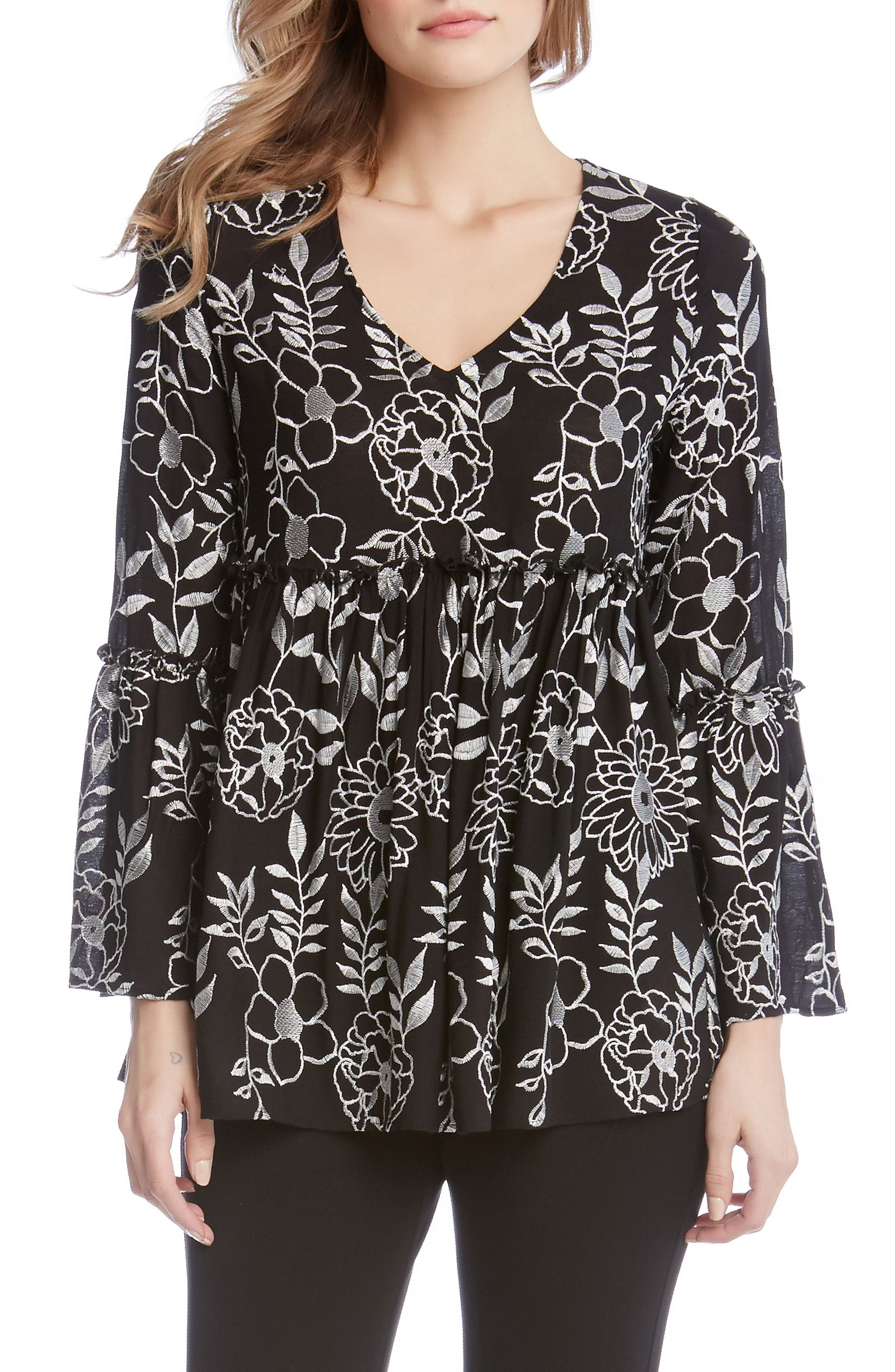 Embroidered Ruffle Top,                         Main,                         color, Black With Off White