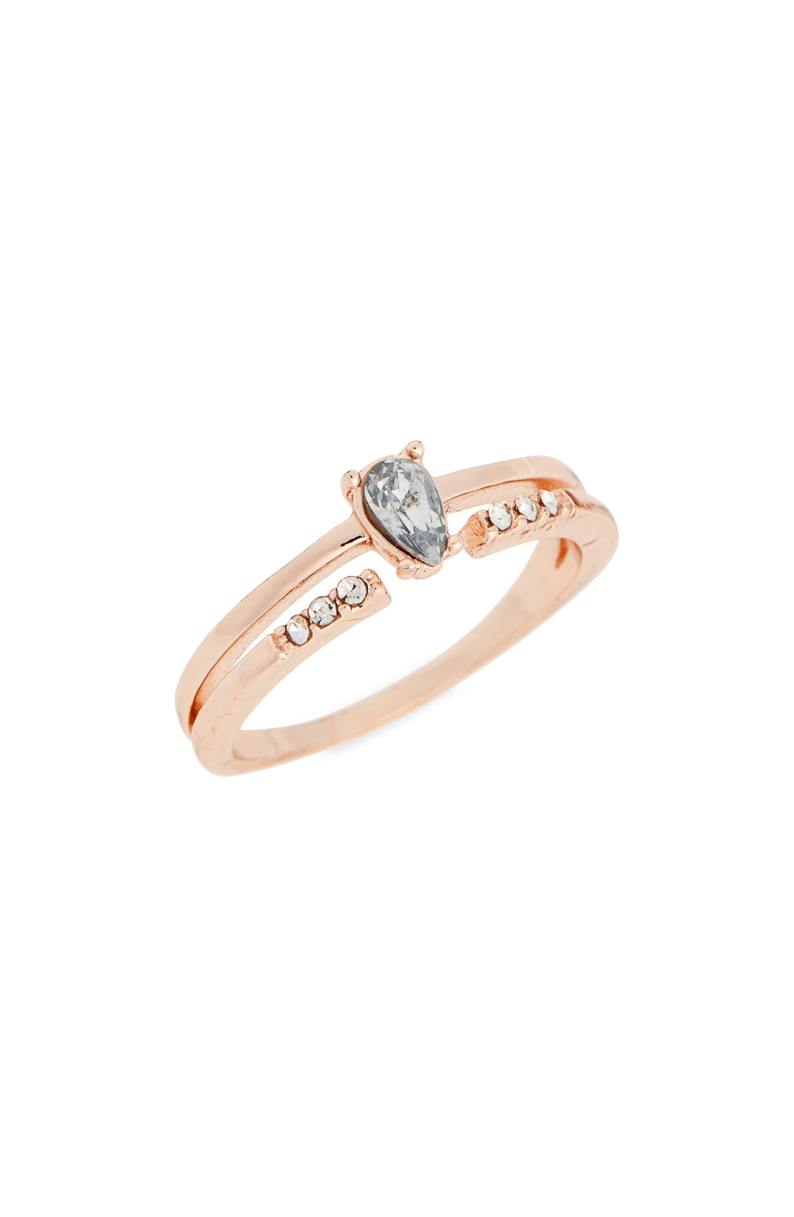 Fine Double Band Stone Ring,                             Main thumbnail 1, color,                             Rose Gold