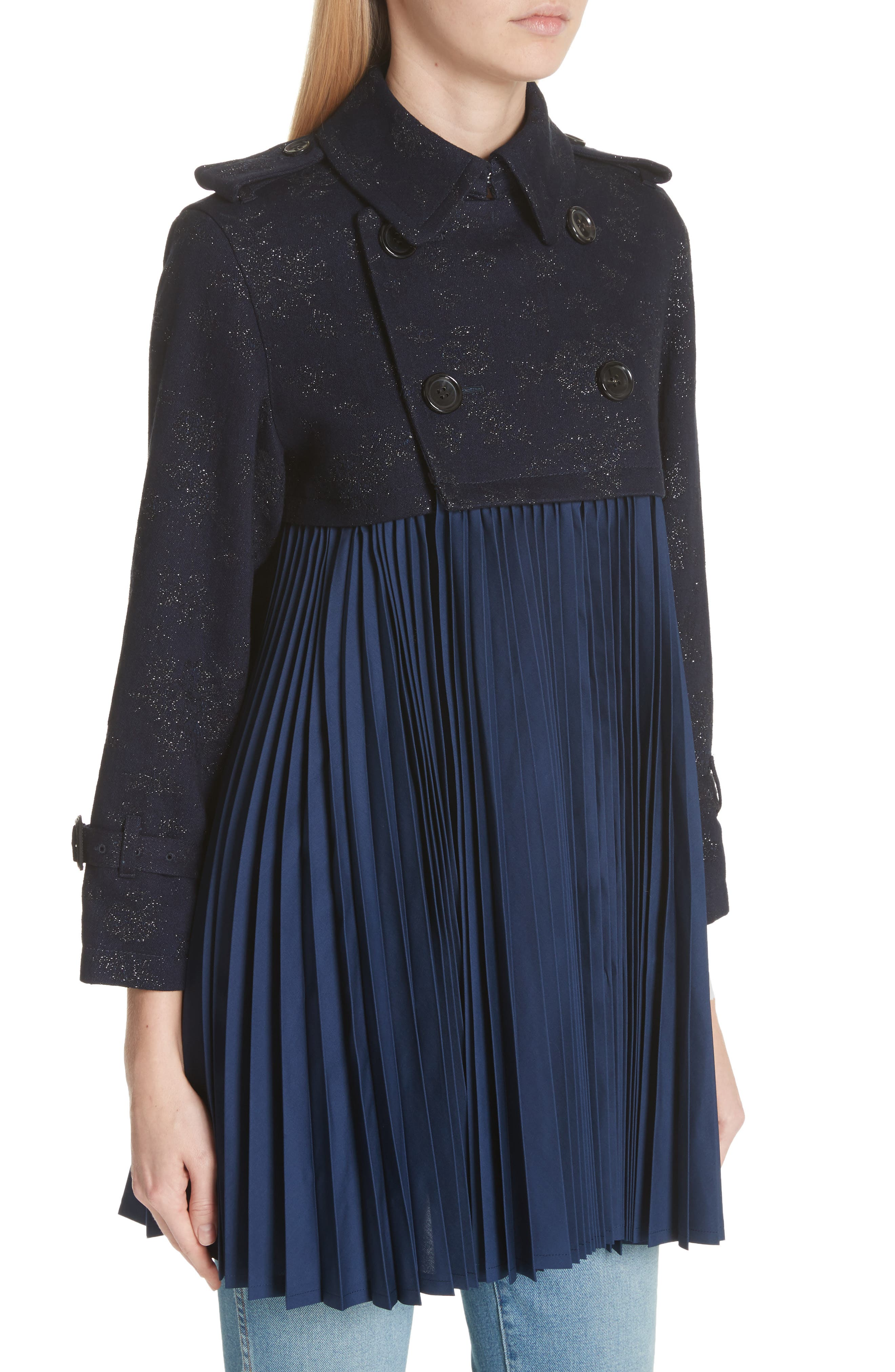 Pleated Trench Coat,                             Alternate thumbnail 4, color,                             Indigo-Blk-Nvy