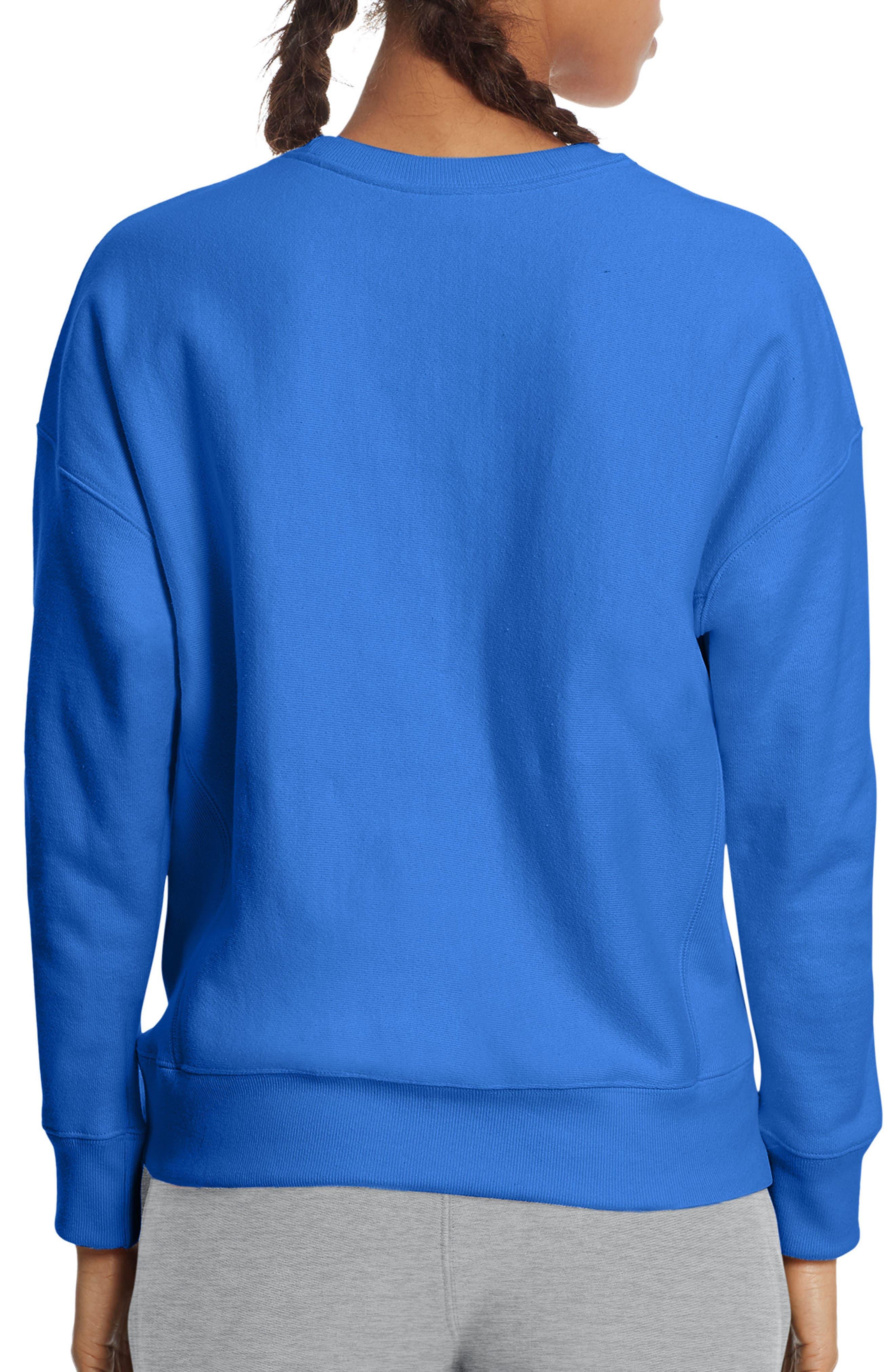 Reverse Weave Crew Sweatshirt,                             Alternate thumbnail 2, color,                             Groove Blue