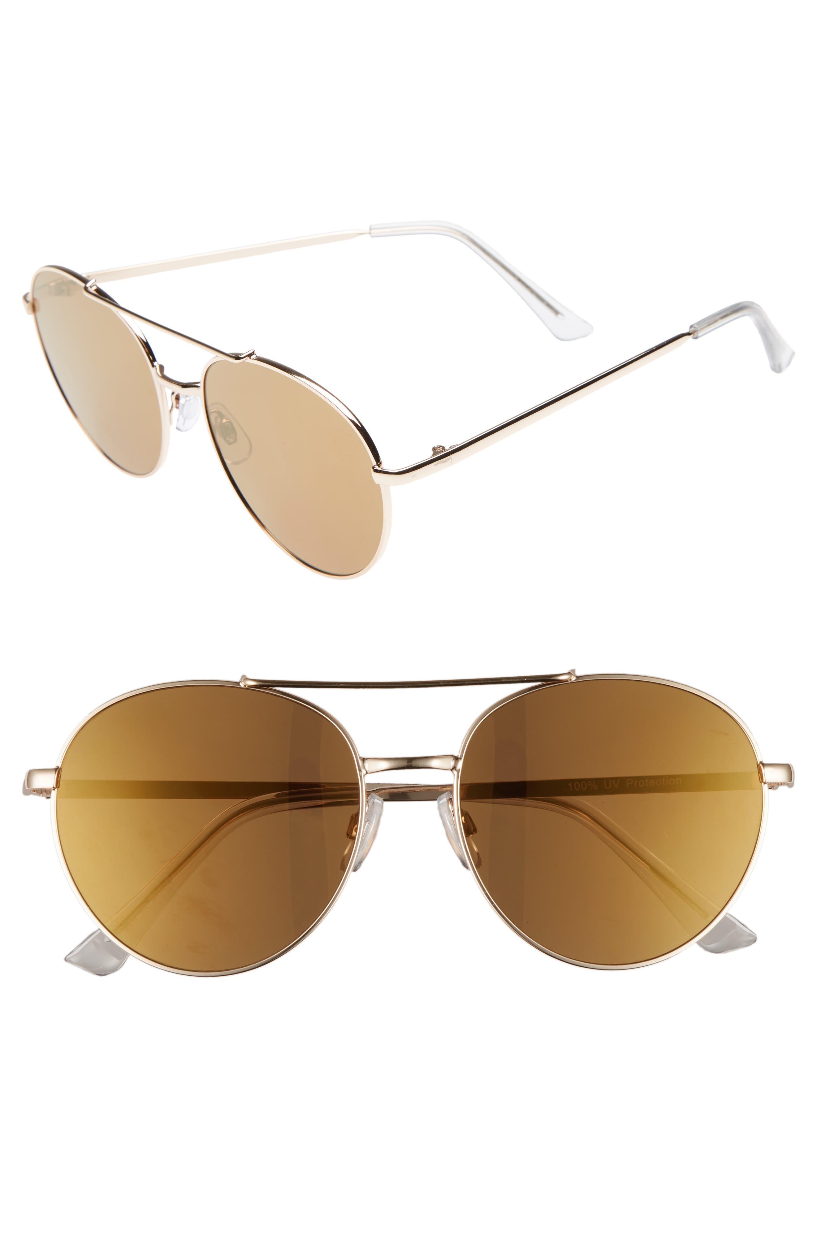 Lucky Seven 55mm Metal Aviator Sunglasses,                             Main thumbnail 1, color,                             Gold/ Gold
