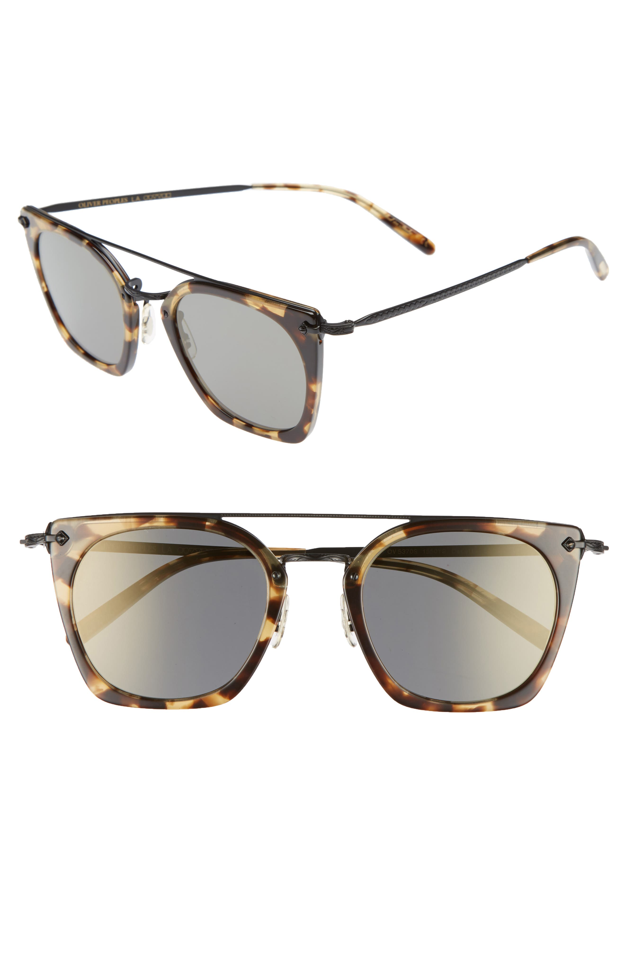 Dacette 50mm Square Aviator Sunglasses,                             Main thumbnail 1, color,                             Hickorty Tortoise