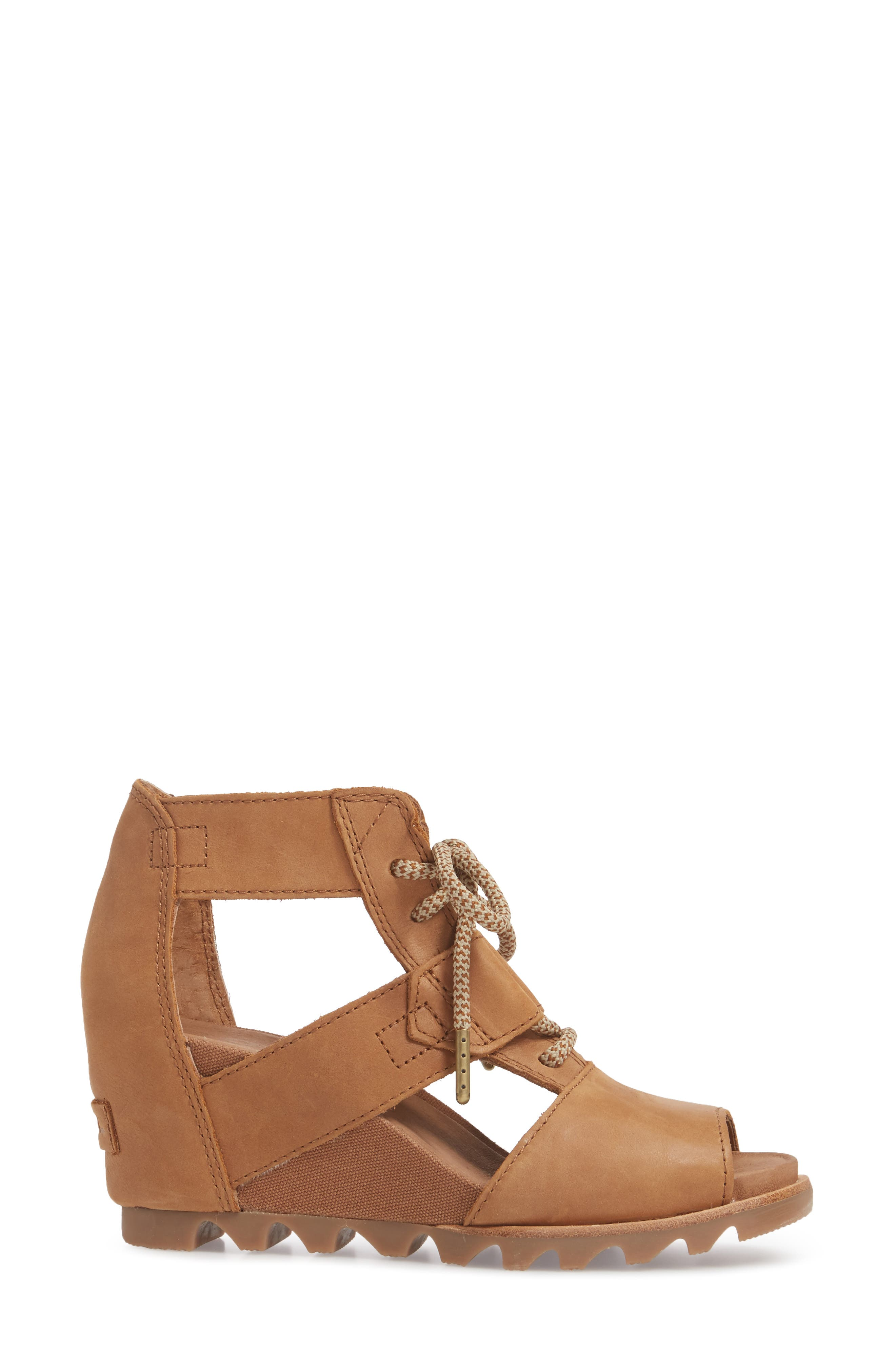 'Joanie' Cage Sandal,                             Alternate thumbnail 5, color,                             Camel Brown