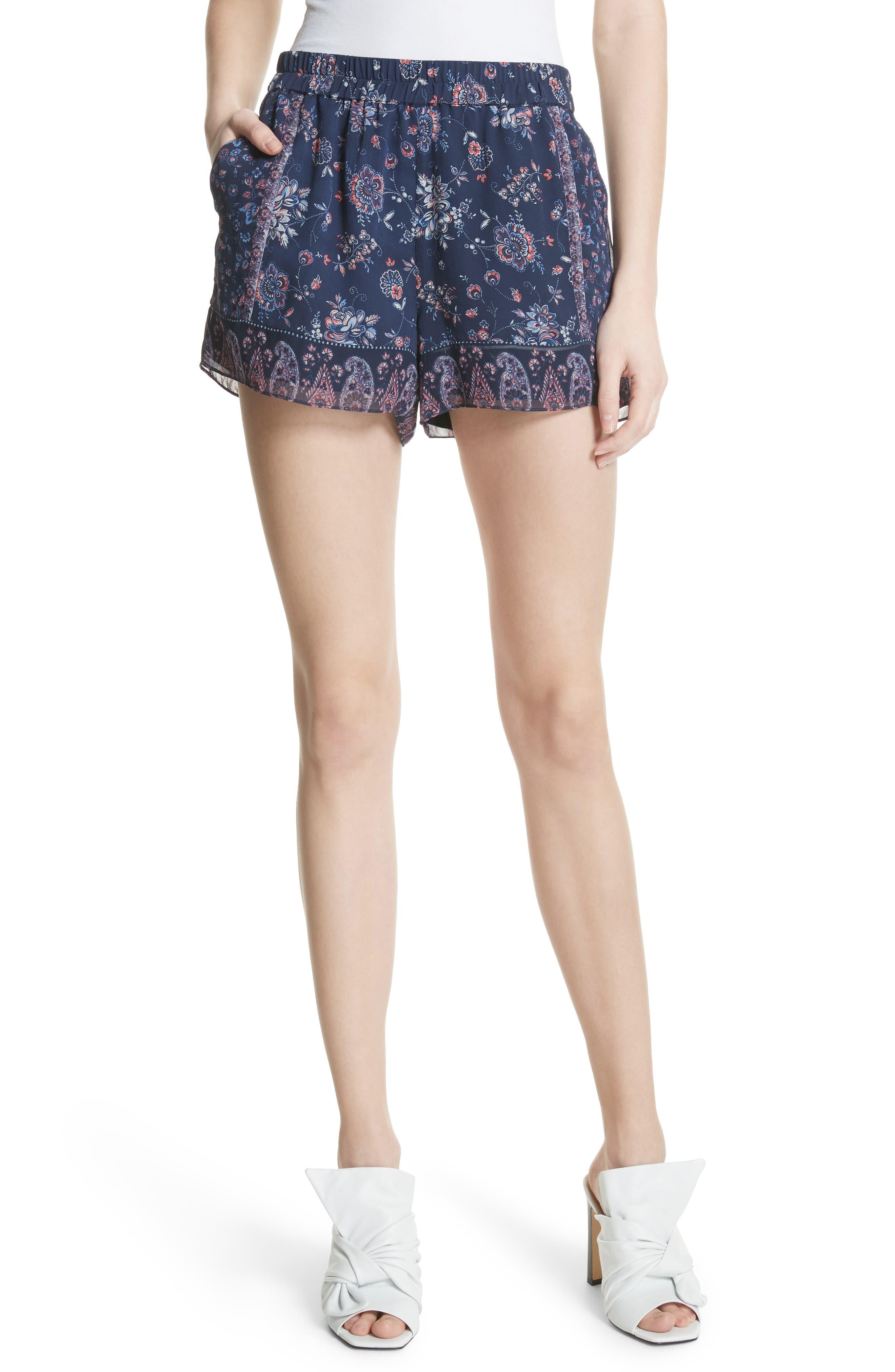Ciri Floral Silk Shorts,                             Main thumbnail 1, color,                             Dark Navy