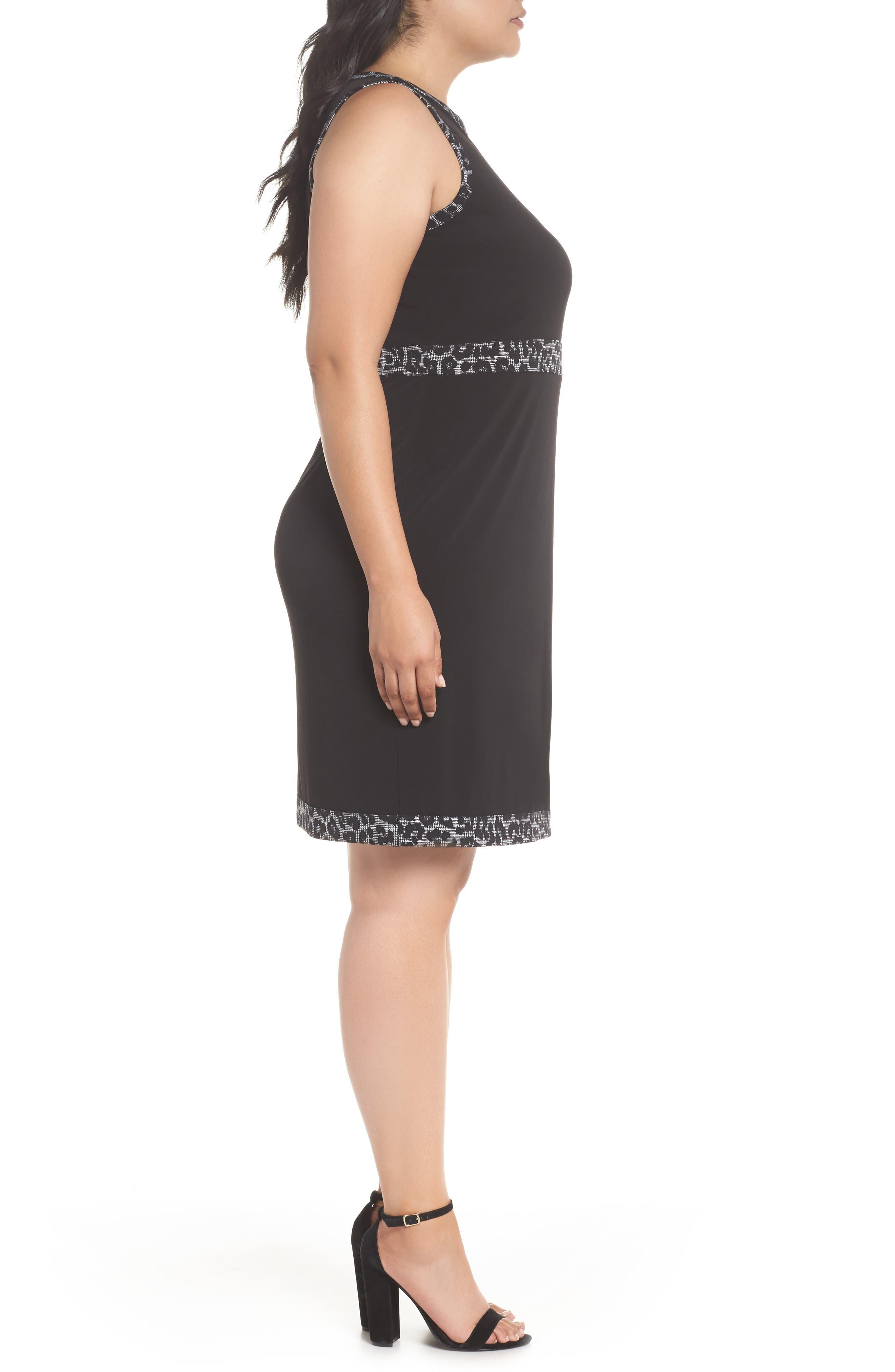Print Trim Mock Wrap Sheath Dress,                             Alternate thumbnail 3, color,                             Black