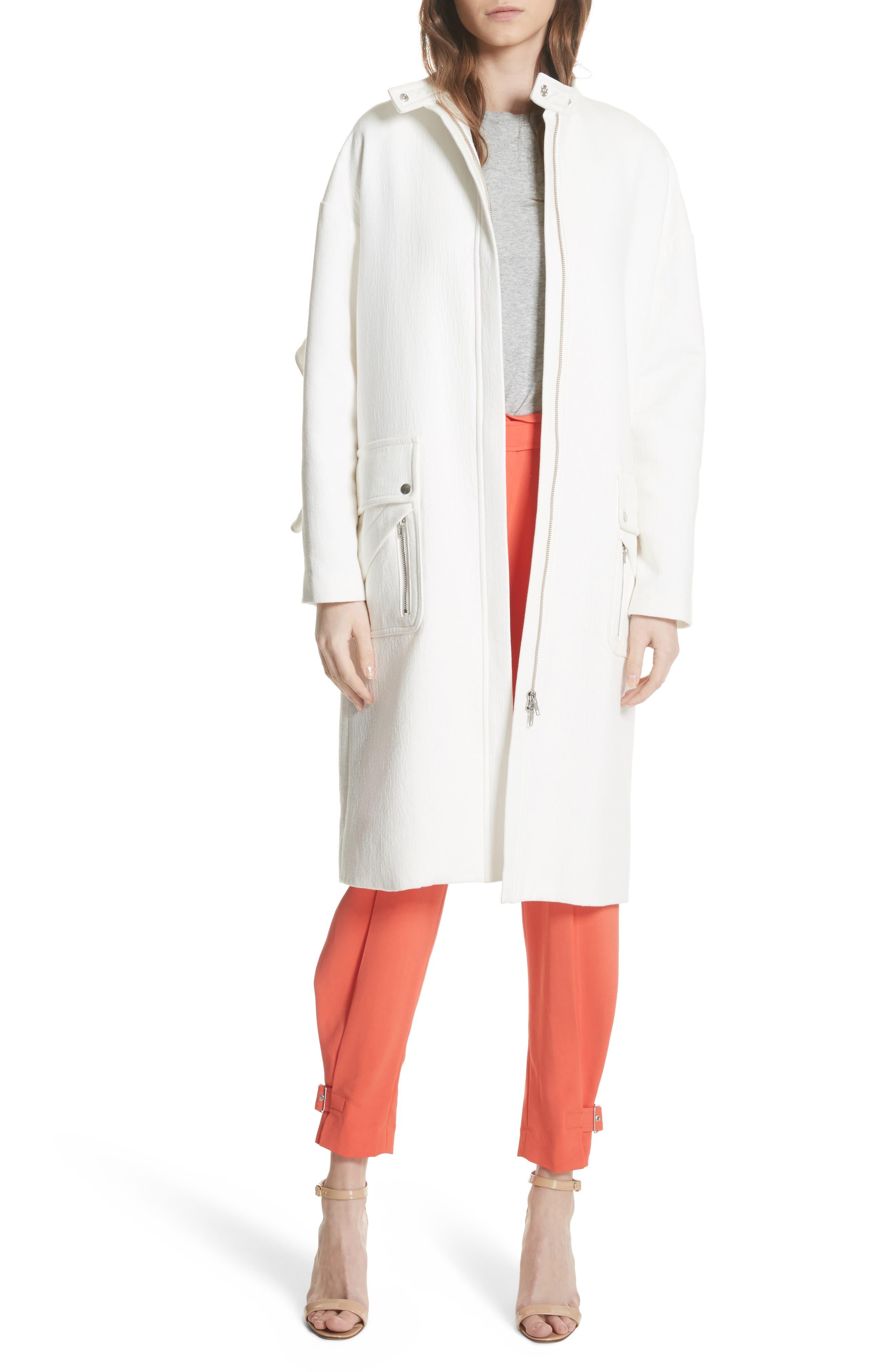Ruffle Sleeve Cotton Coat,                             Main thumbnail 1, color,                             Linen
