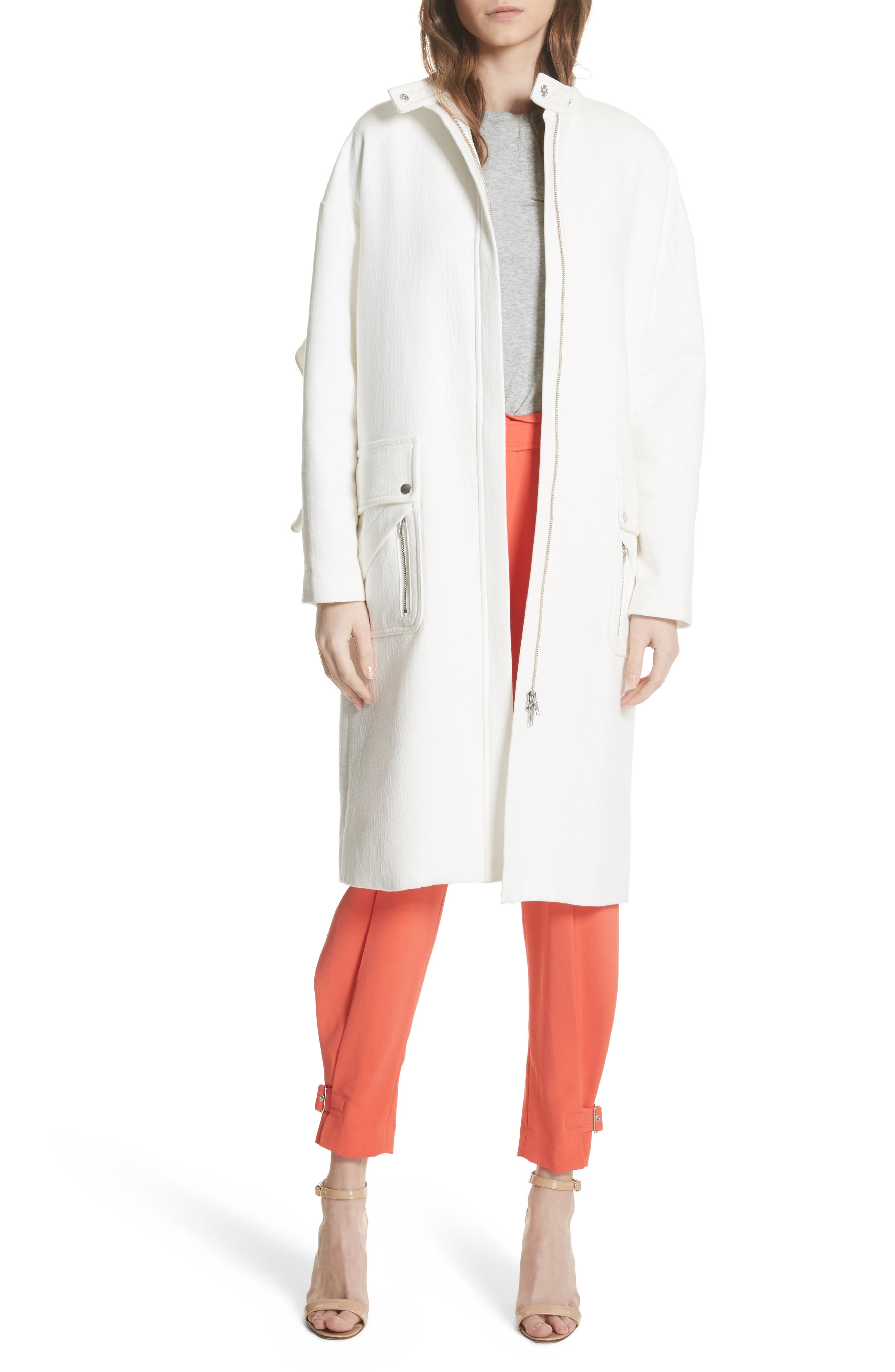 Ruffle Sleeve Cotton Coat,                         Main,                         color, Linen