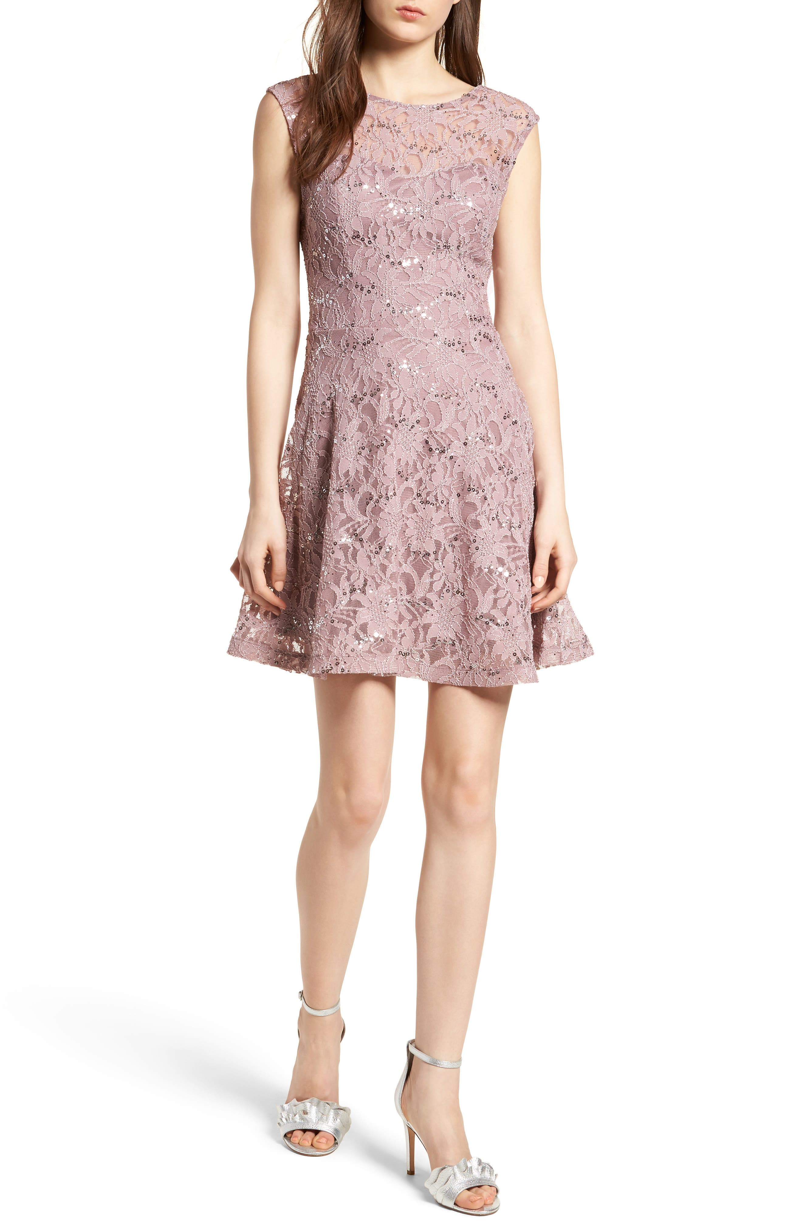 Sequin Lace Fit & Flare Dress,                         Main,                         color, Mauve