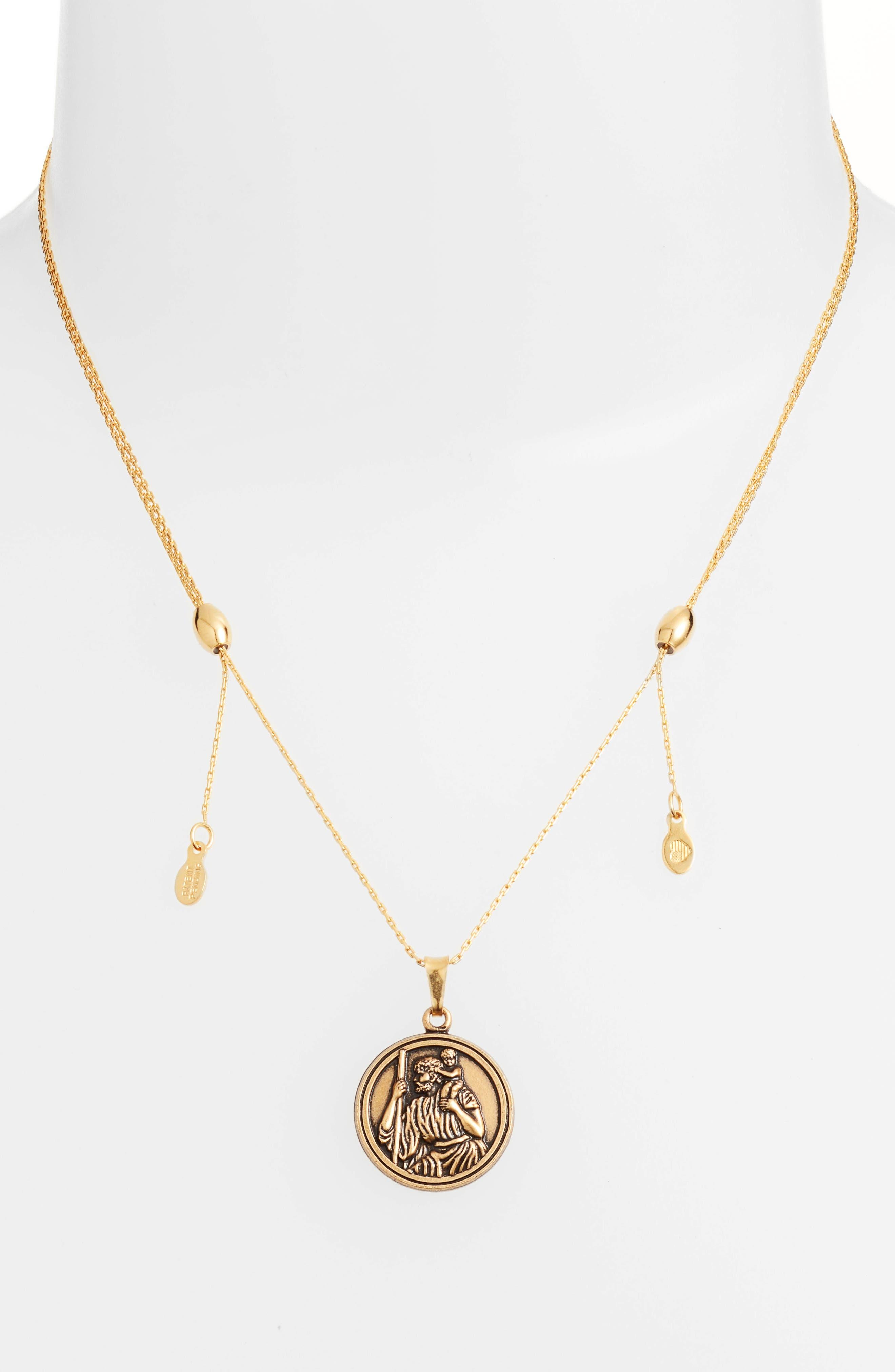 Saint Christopher Pendant Necklace,                             Alternate thumbnail 4, color,                             Gold