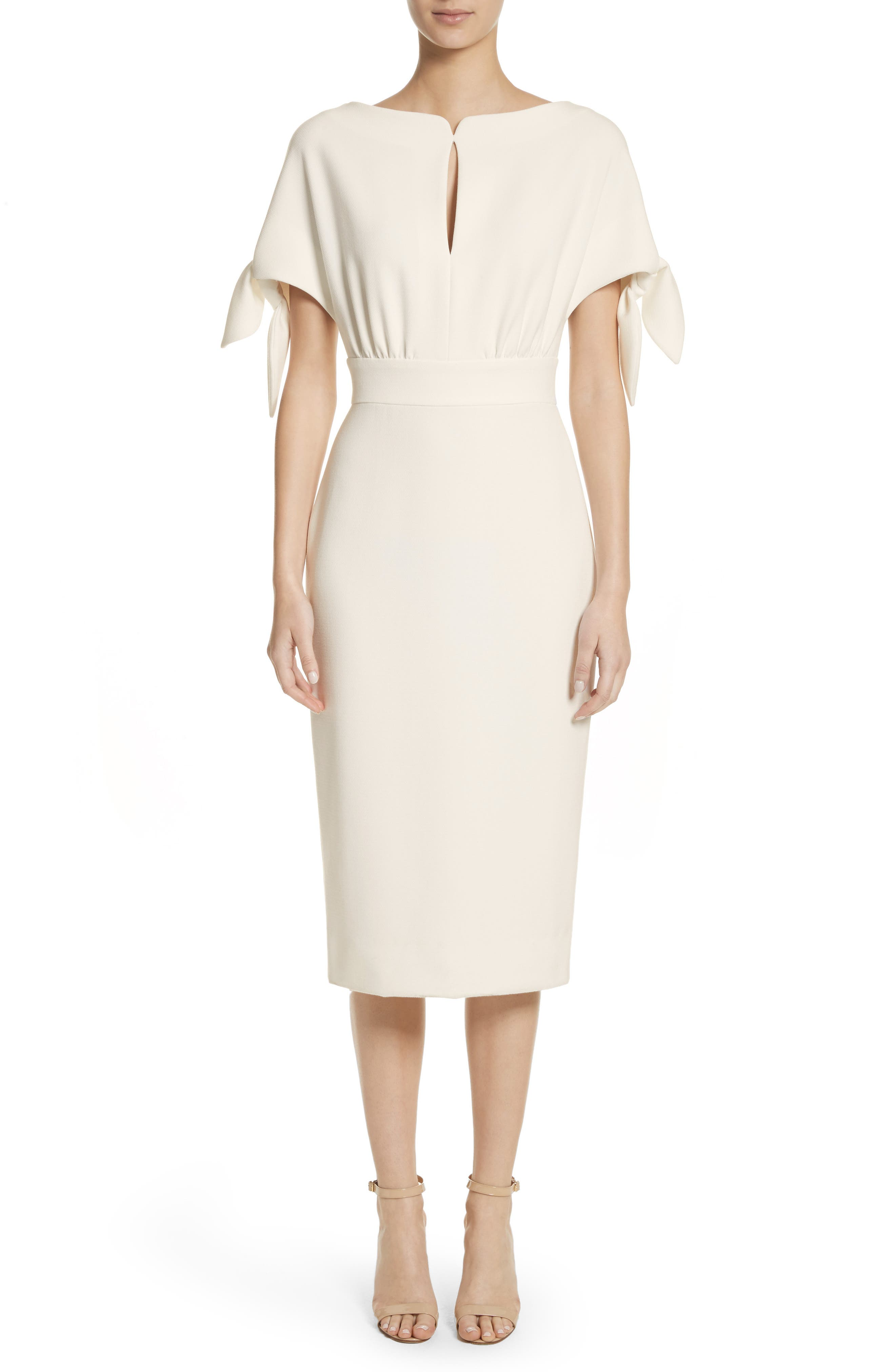 LELA ROSE Tie Sleeve Wool Blend Sheath Dress, White
