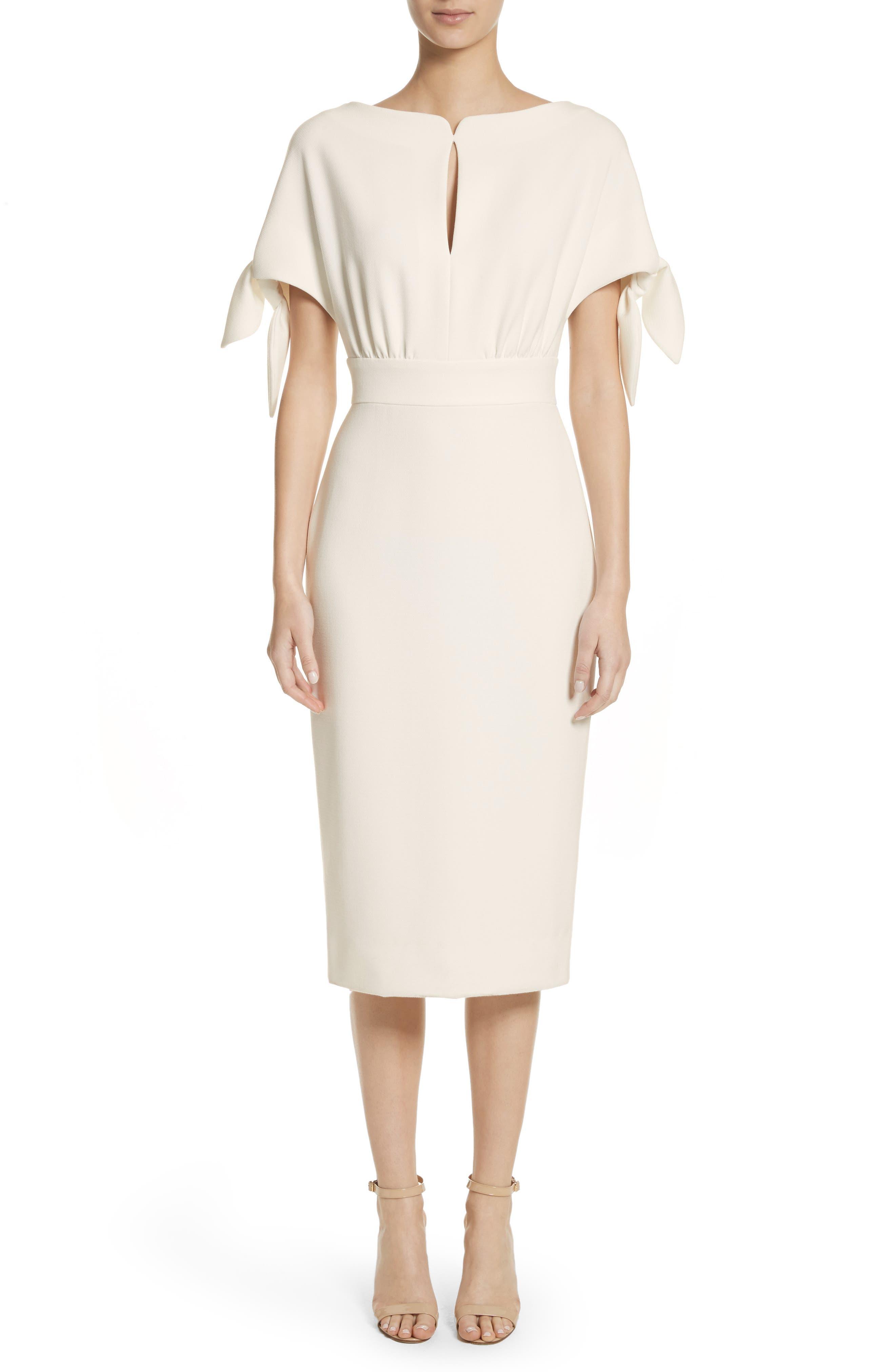 Tie Sleeve Wool Blend Sheath Dress,                             Main thumbnail 1, color,                             White