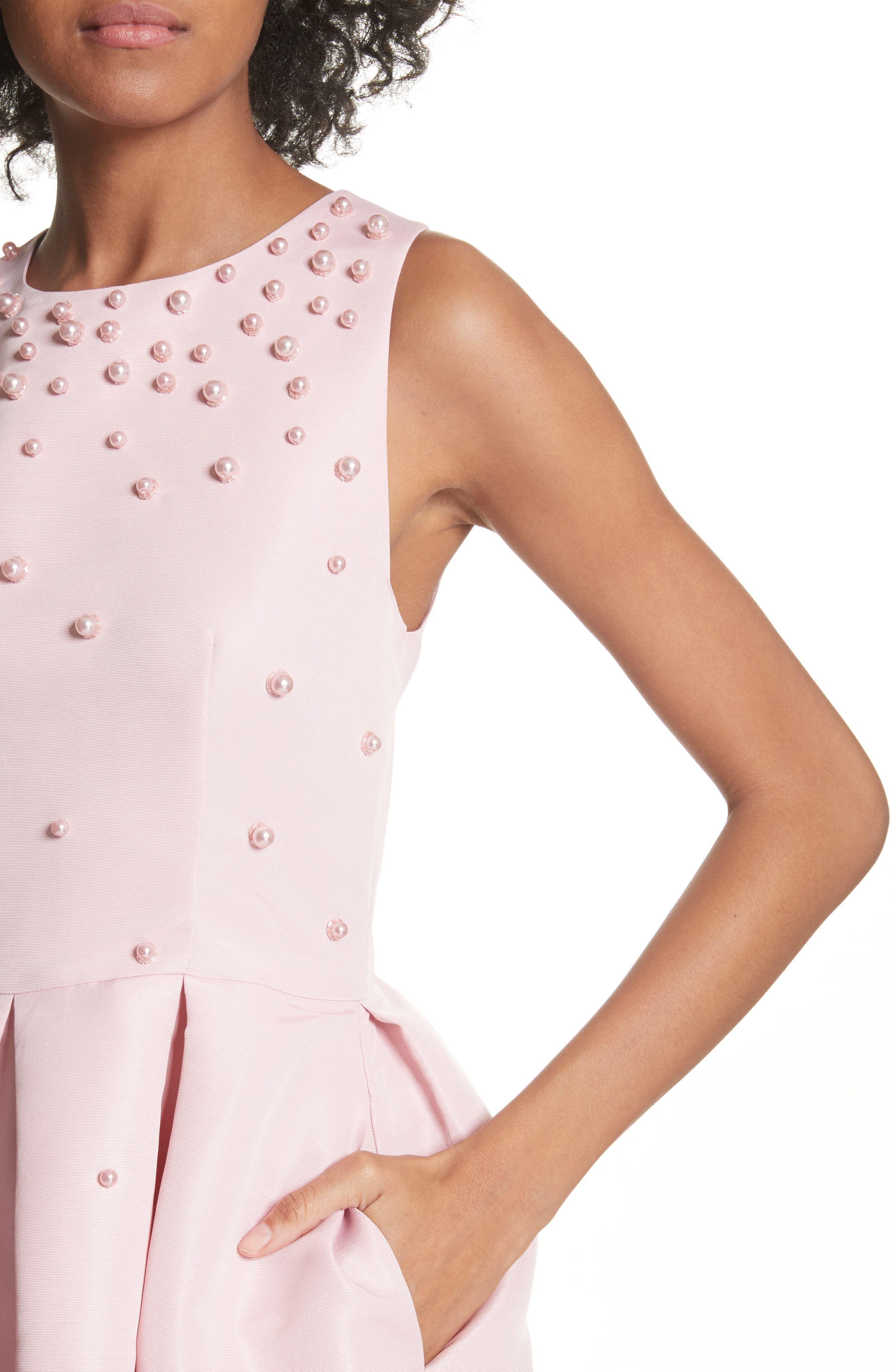 Embellished Skater Dress,                             Alternate thumbnail 4, color,                             Baby Pink