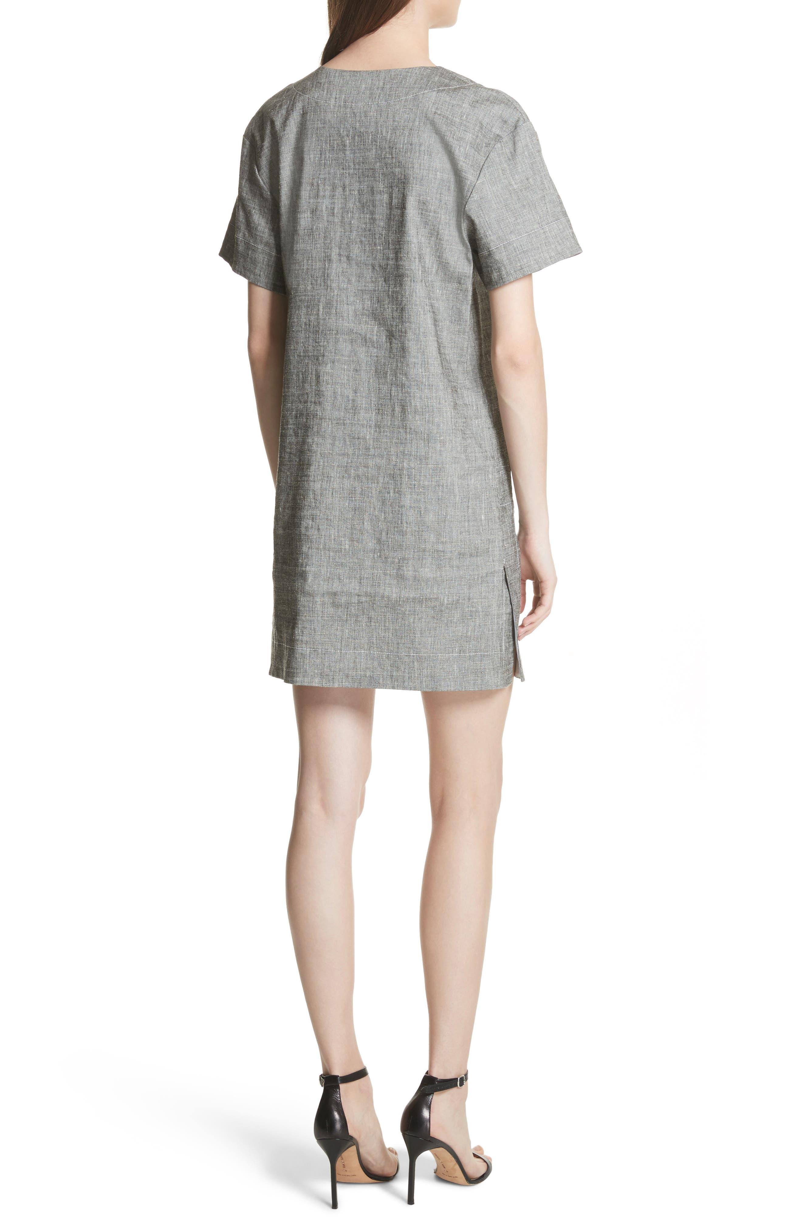 Split Neck Linen Blend Shift Dress,                             Alternate thumbnail 2, color,                             Black