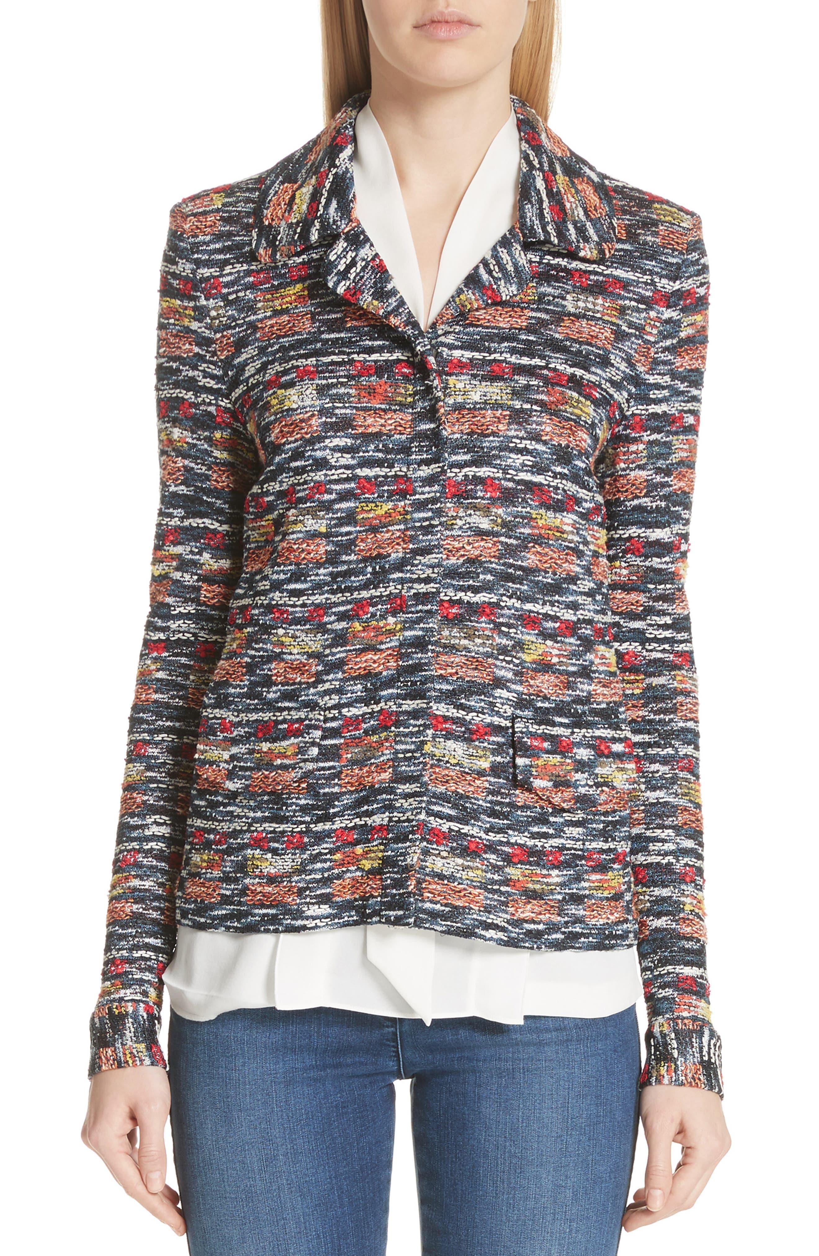 St. John Collection Painterly Multi Tweed Knit Jacket
