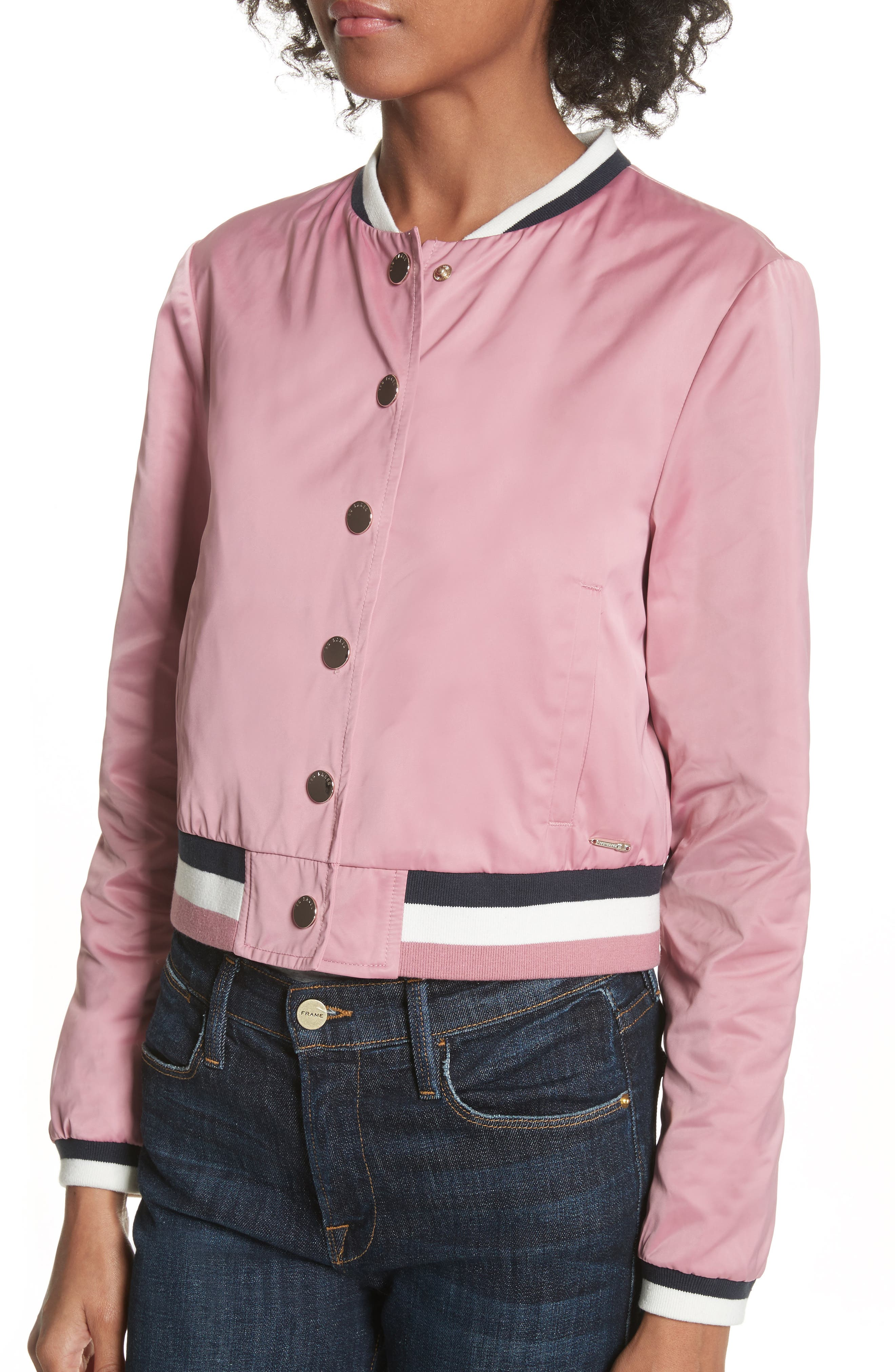 Colour by Numbers Bomber Jacket,                             Alternate thumbnail 5, color,                             Dusky Pink