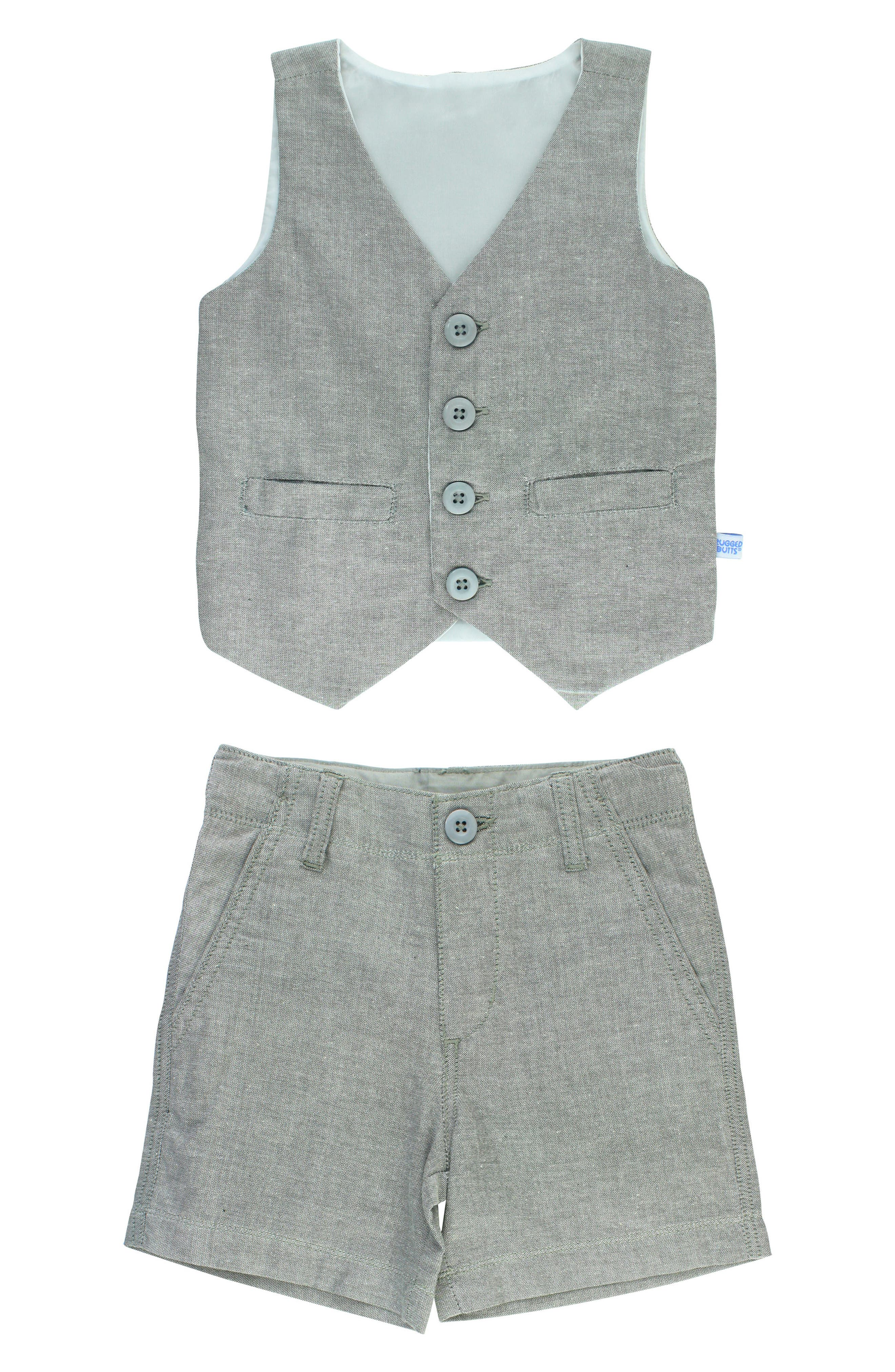 Chambray Vest & Shorts Set,                             Main thumbnail 1, color,                             Gray