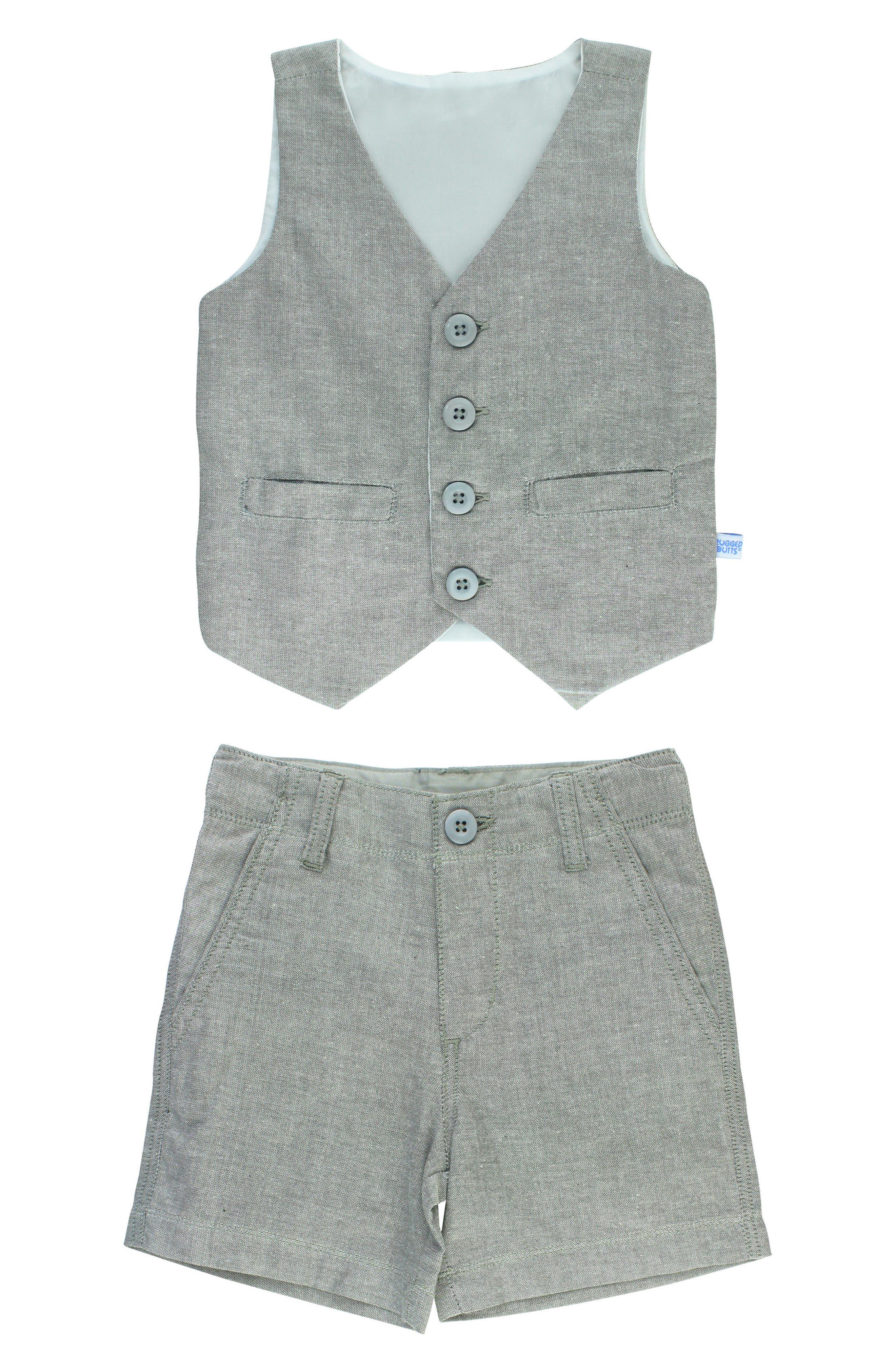 Chambray Vest & Shorts Set,                         Main,                         color, Gray