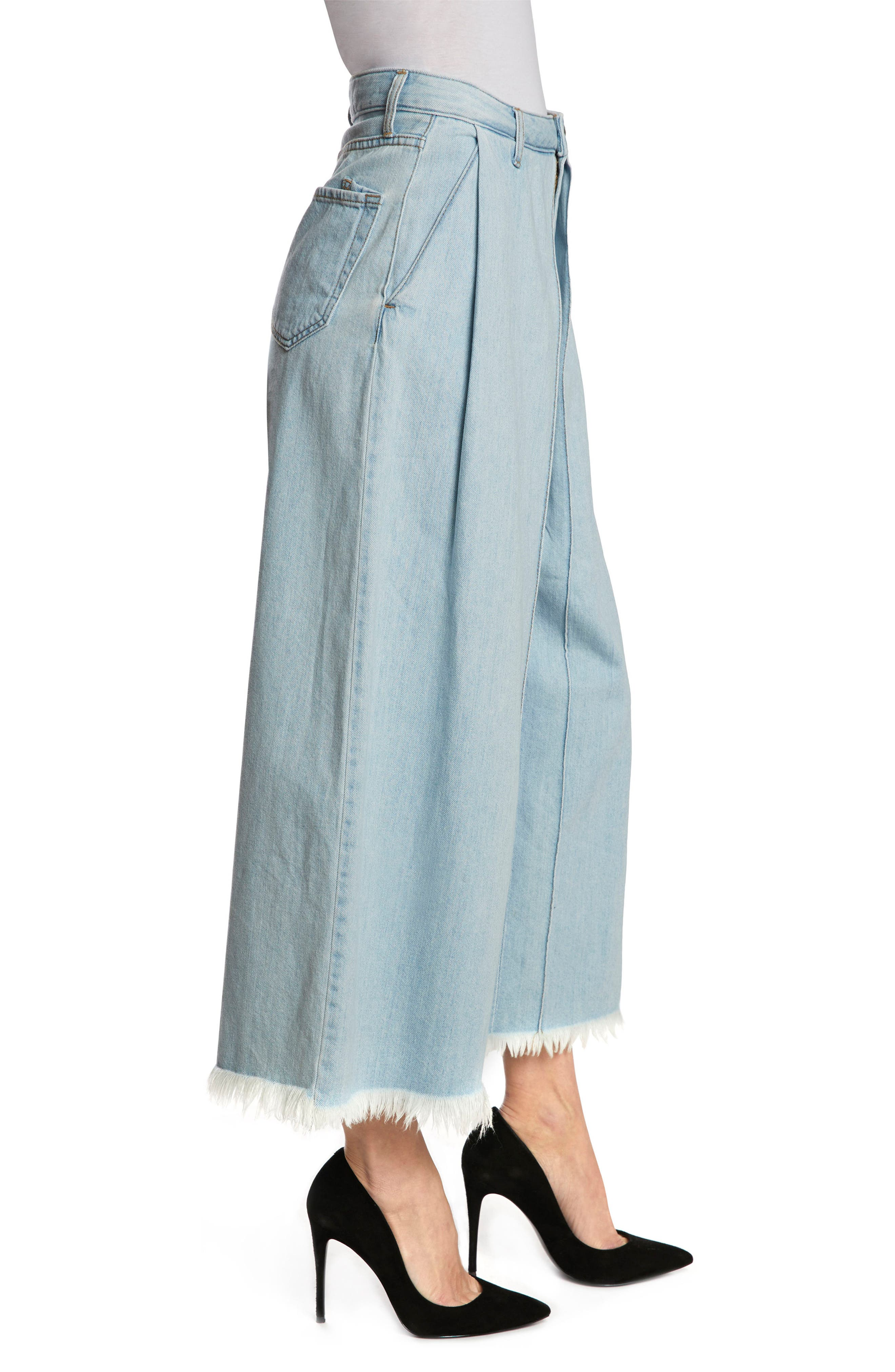 Javelin High Waist Crop Wide Leg Jeans,                             Alternate thumbnail 3, color,                             Light Wash