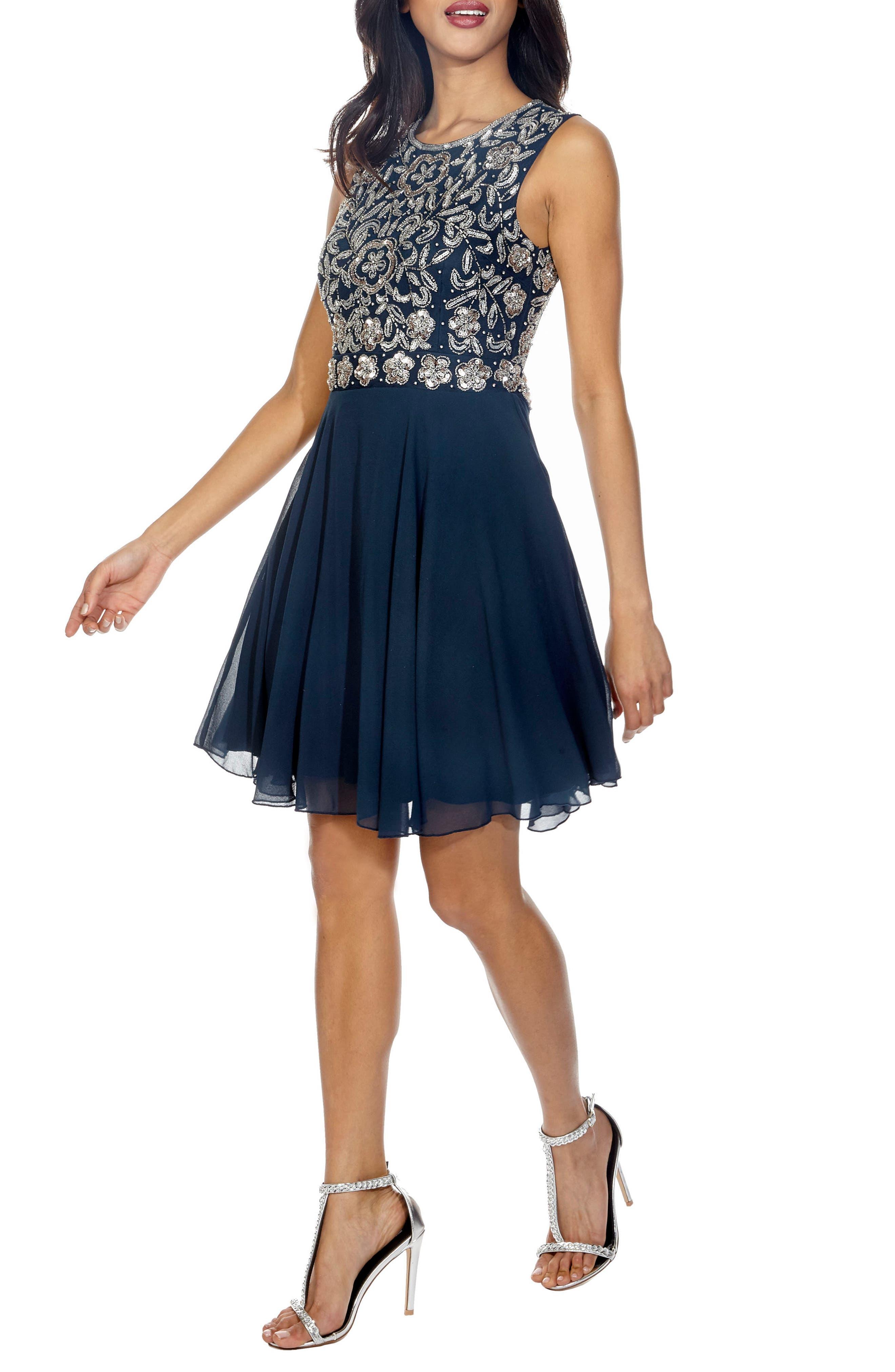 Memphis Fit & Flare Dress,                             Alternate thumbnail 3, color,                             Navy
